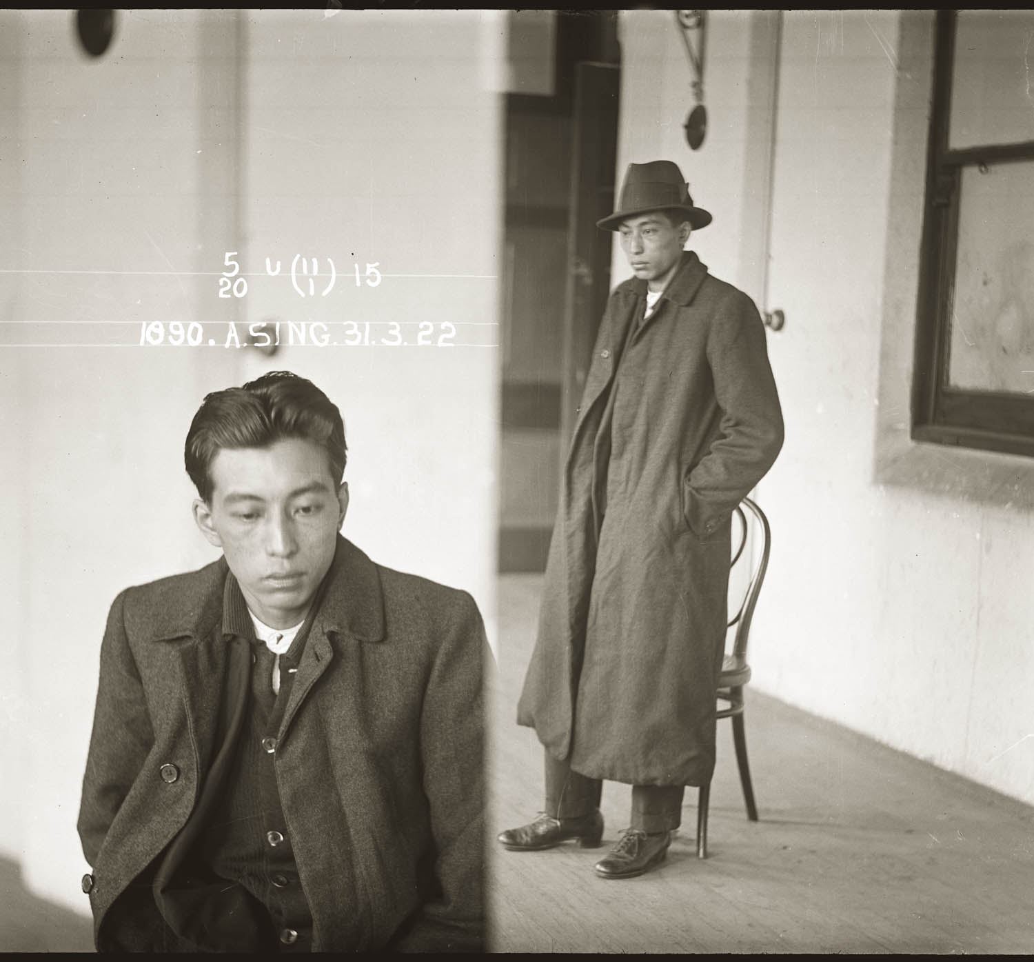 Mug shot of Albert Sing, 31 March 1922. Location unknown.