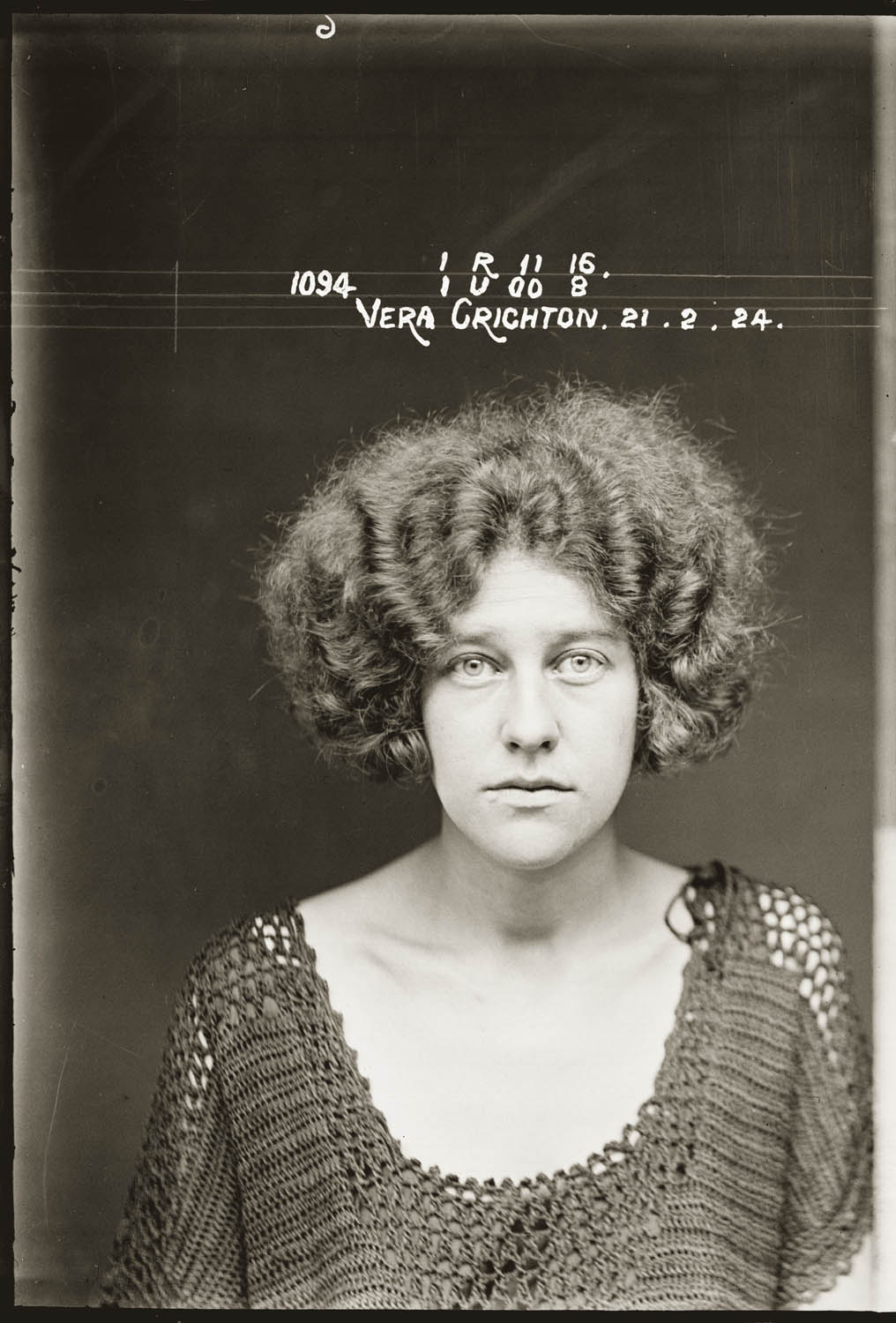Mug shot of Vera Crichton, taken 21 February 1924, probably Central Police Station, Sydney.