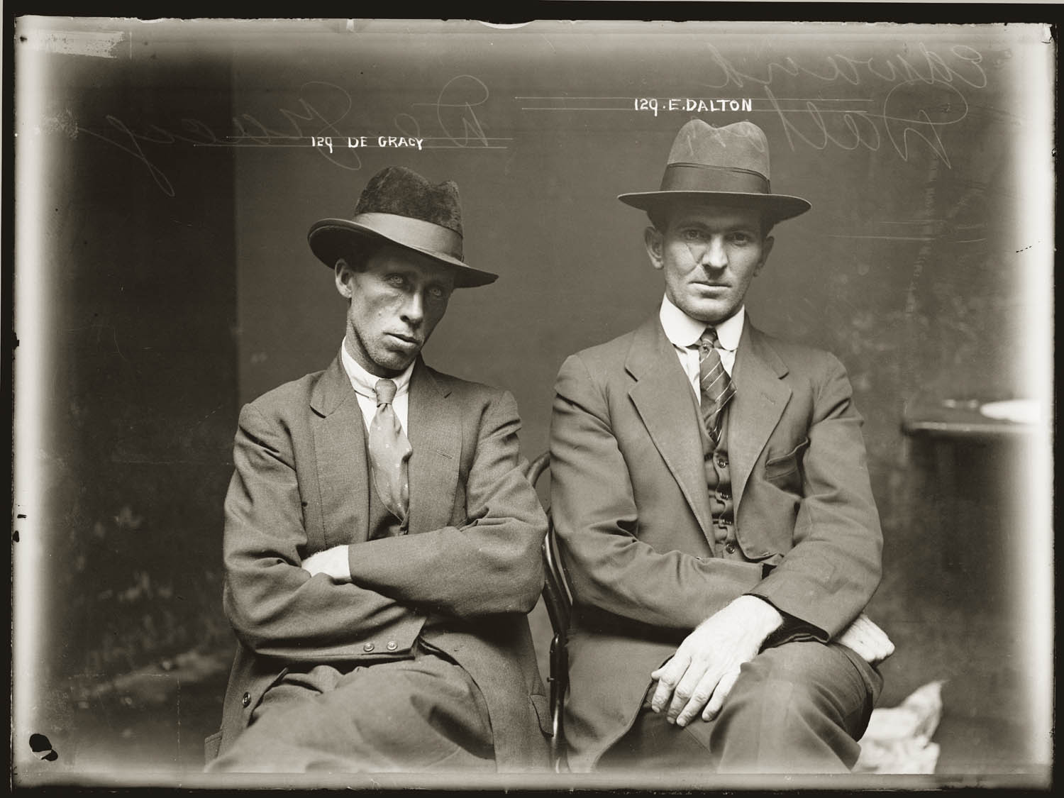 Mug shot of De Gracy (sic) and Edward Dalton. Details unknown. Central Police Station, Sydney, ca.1920.