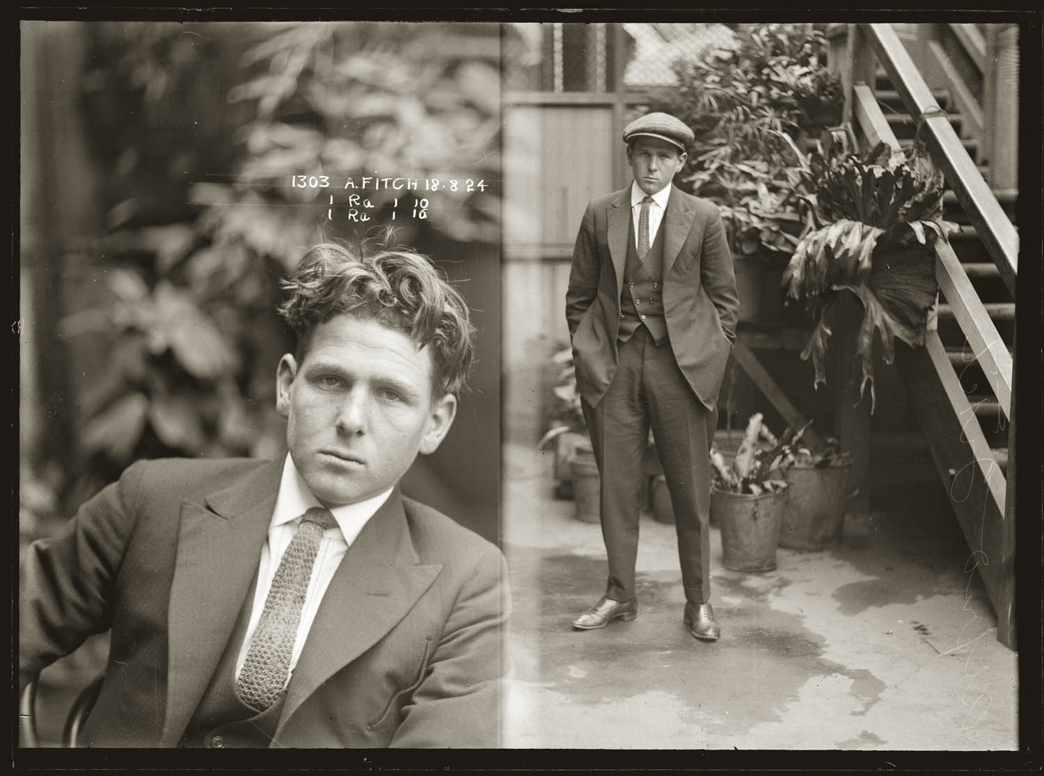 Mug shot Alfred Fitch, 18 August 1924, location unknown, but possibly Darlinghurst Police Station.