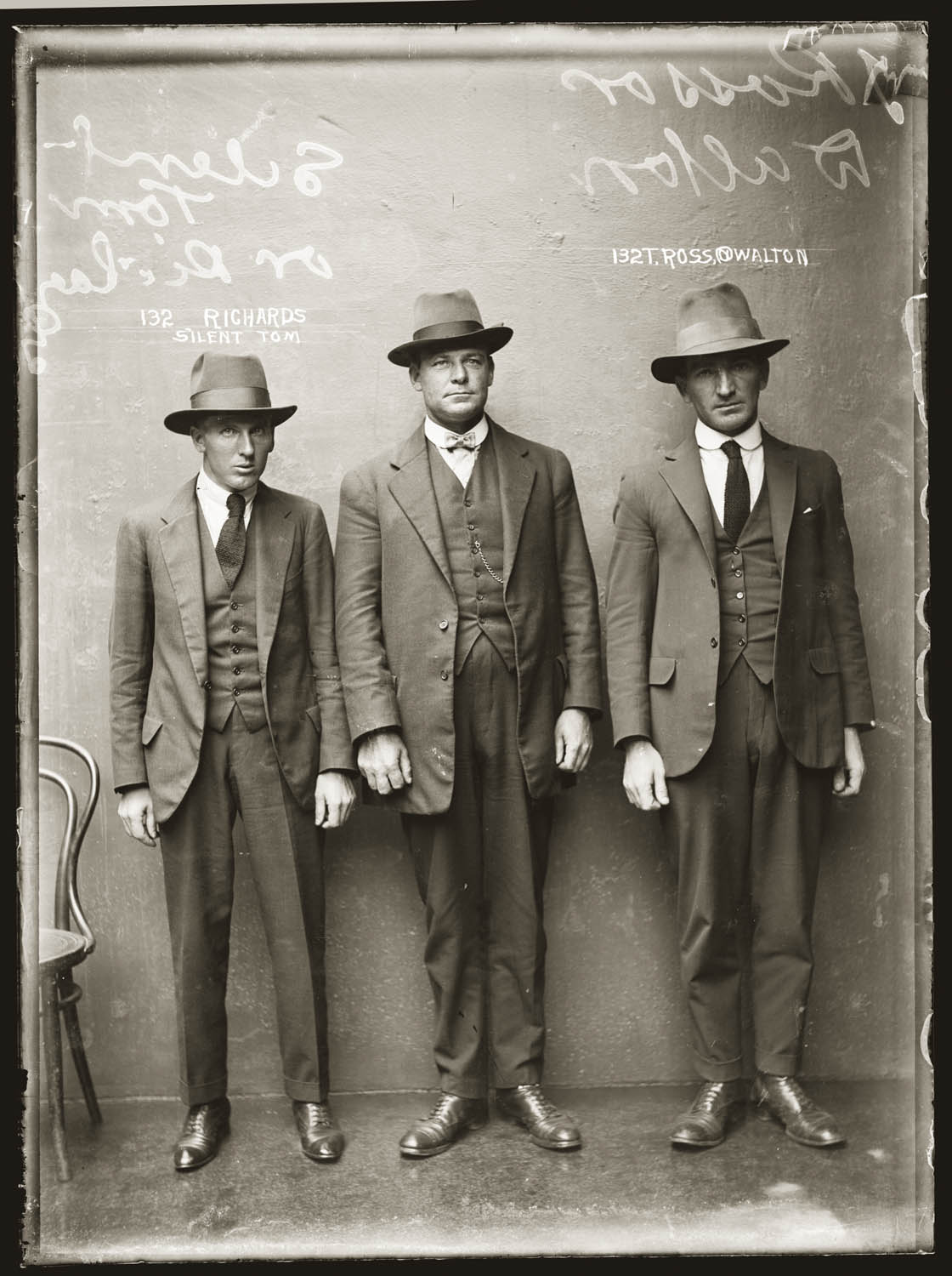 "Mug shot of ""Silent Tom"" Richards and T Ross, alias Walton, 12 April 1920, presumably Central Police Station, Sydney."