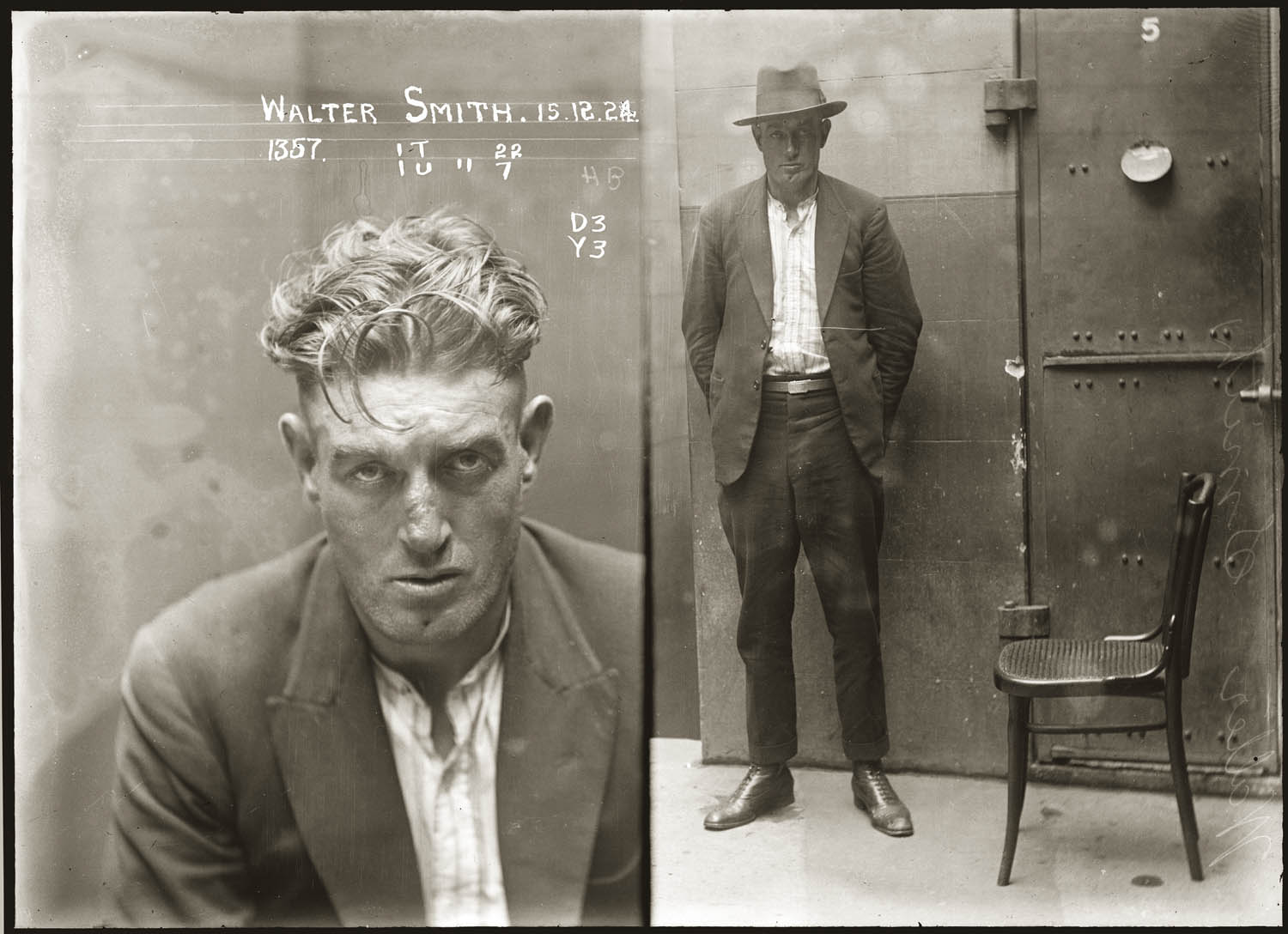 Mug shot of Walter Smith, 15 December 1924, location unknown.