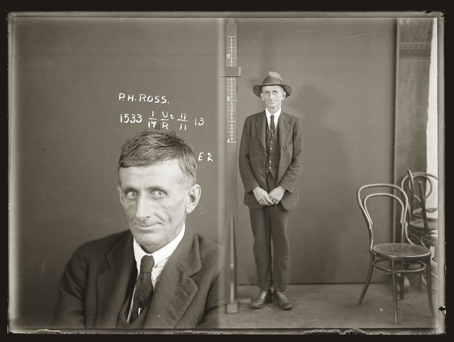 Mug shot of Phillip Henry Ross, ca.1926. Location unknown, possibly Darlinghurst Police Station.
