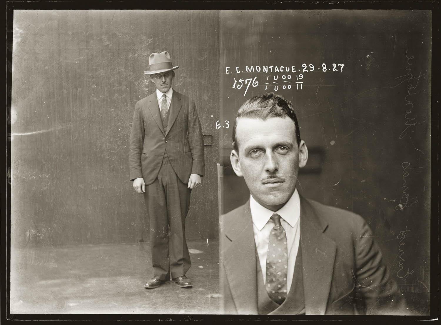 Mug shot of Ernest James Montague, 29 August 1927, Central Police Station, Sydney.