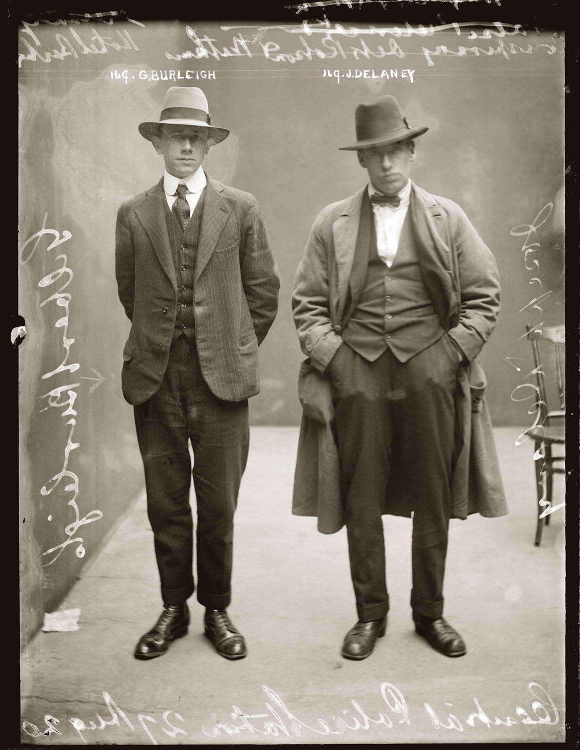 Mug shot of Gilbert Burleigh and Joseph Delaney, 27 August 1920, possibly central Police Station, Sydney.