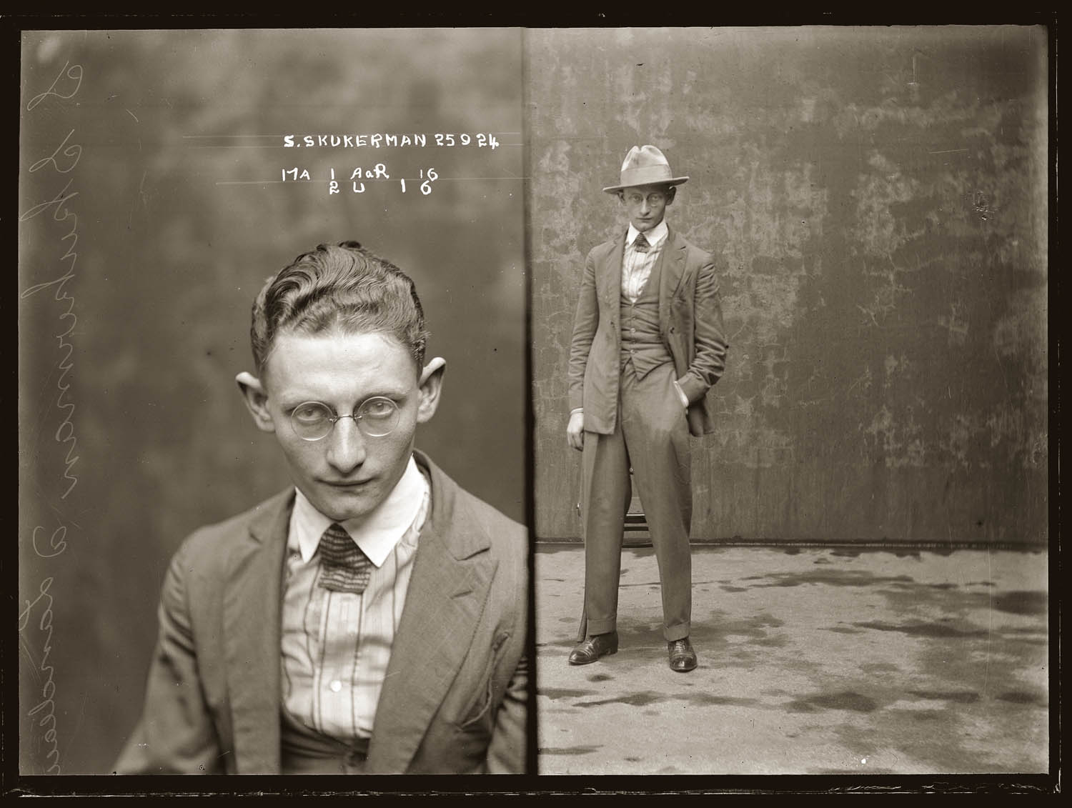 Mug shot of Sydney Skukerman, or Skukarman, 25 September 1924, Central Police Station, Sydney