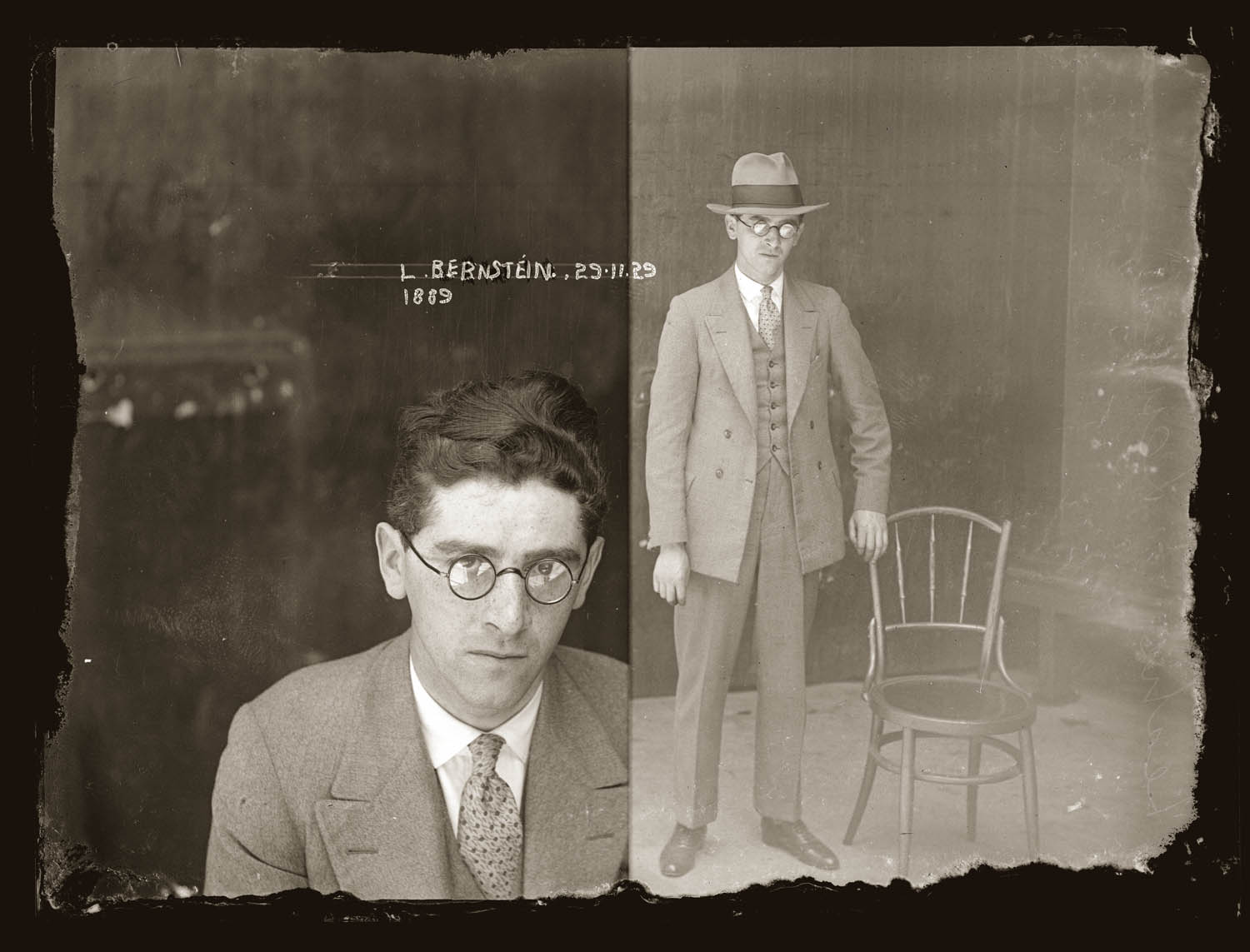 Mug shot of Leslie Louis Bernstein, 29 November 1929, Central cells.