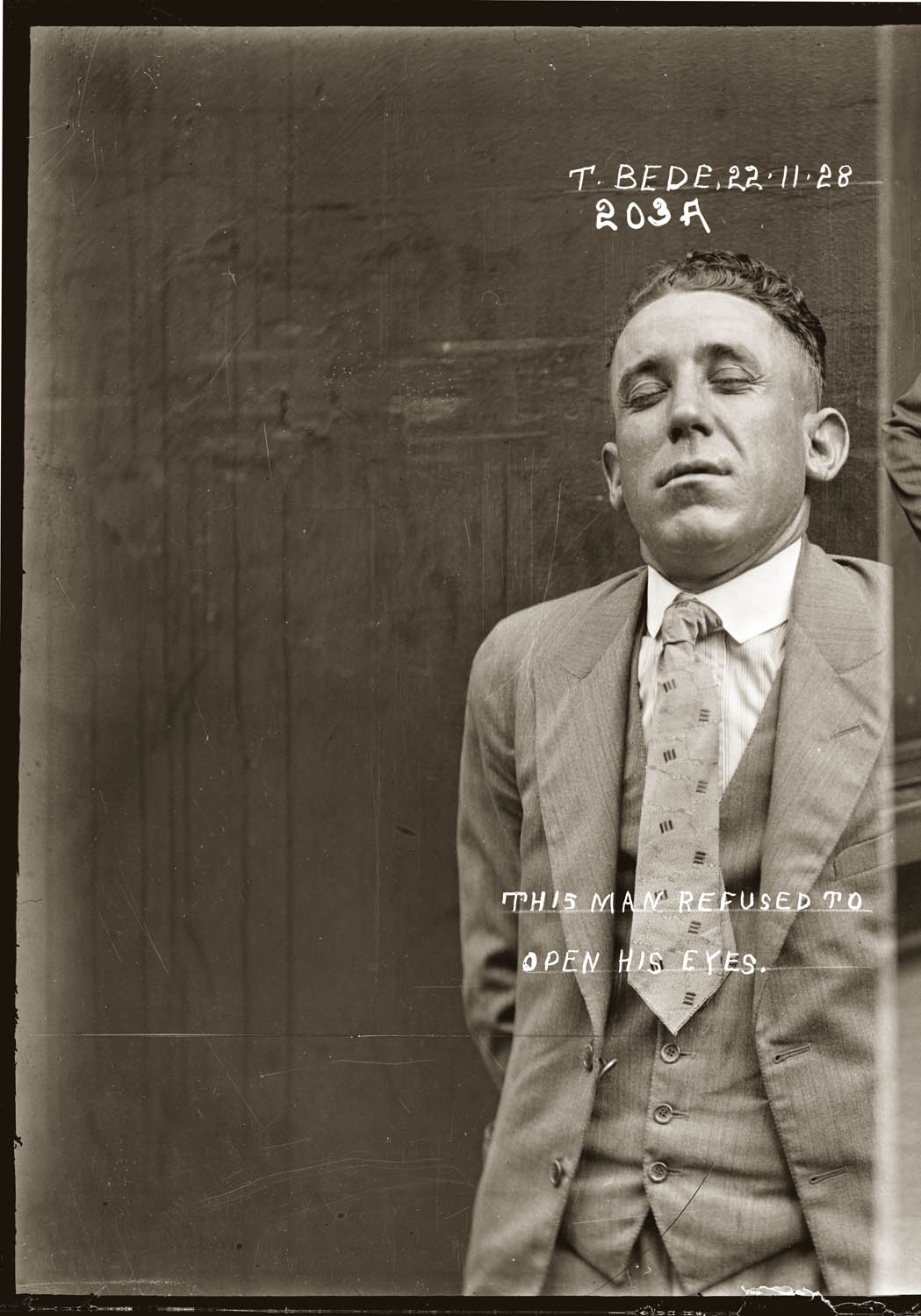 Mug shot of Thomas Bede, Central Police Station, 22 November 1928.