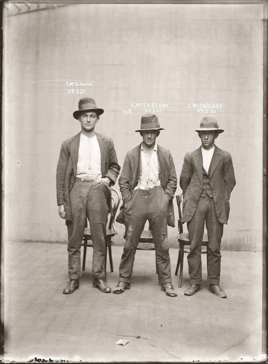 Mug shot of Frank McGowan, Robert McFarlane and John Dennis McFarlane, 23 May 1921, Central Police Station, Sydney.