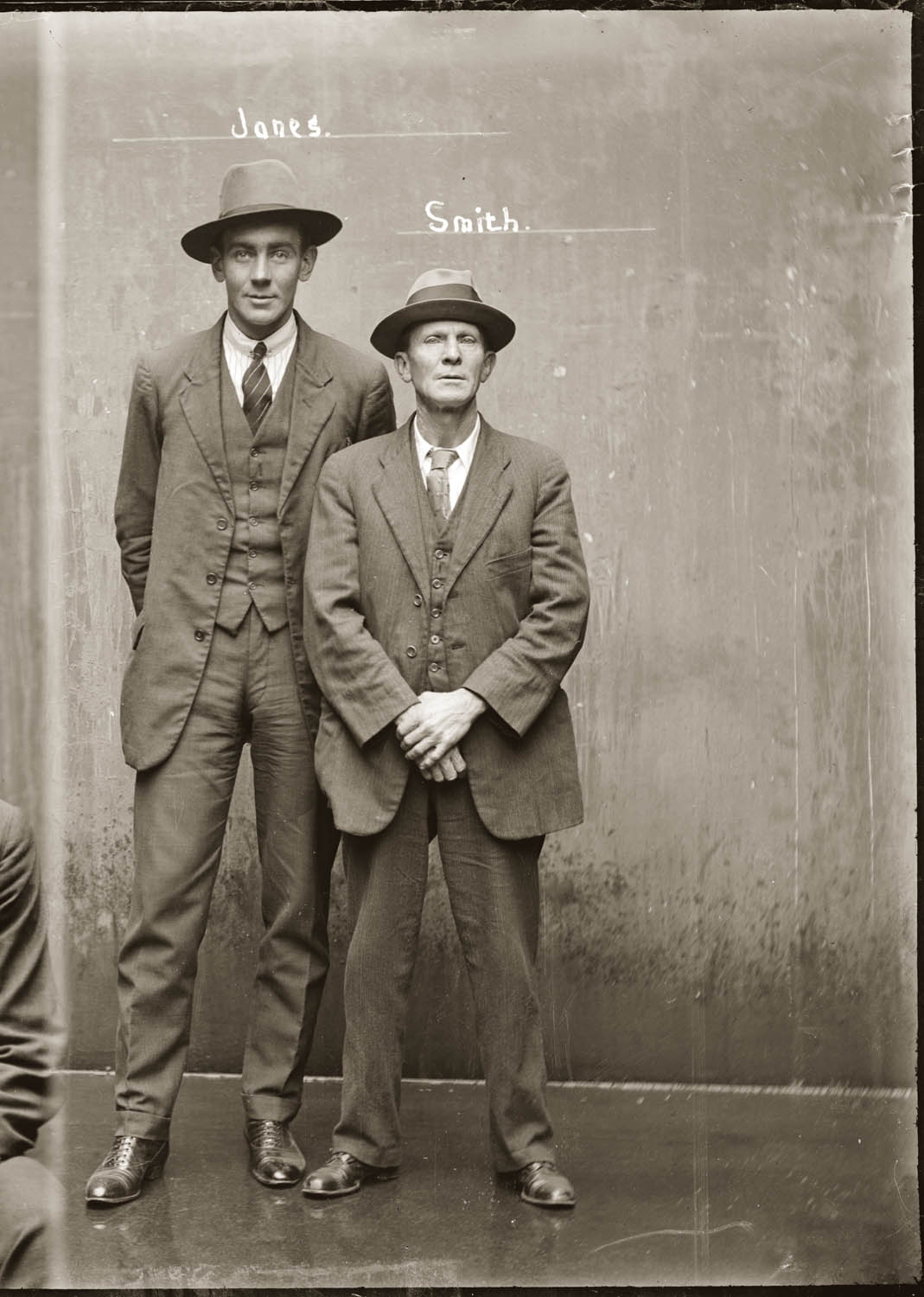 Mug shot of T S Jones and W A Smith, 15 July 1921, Central cells.