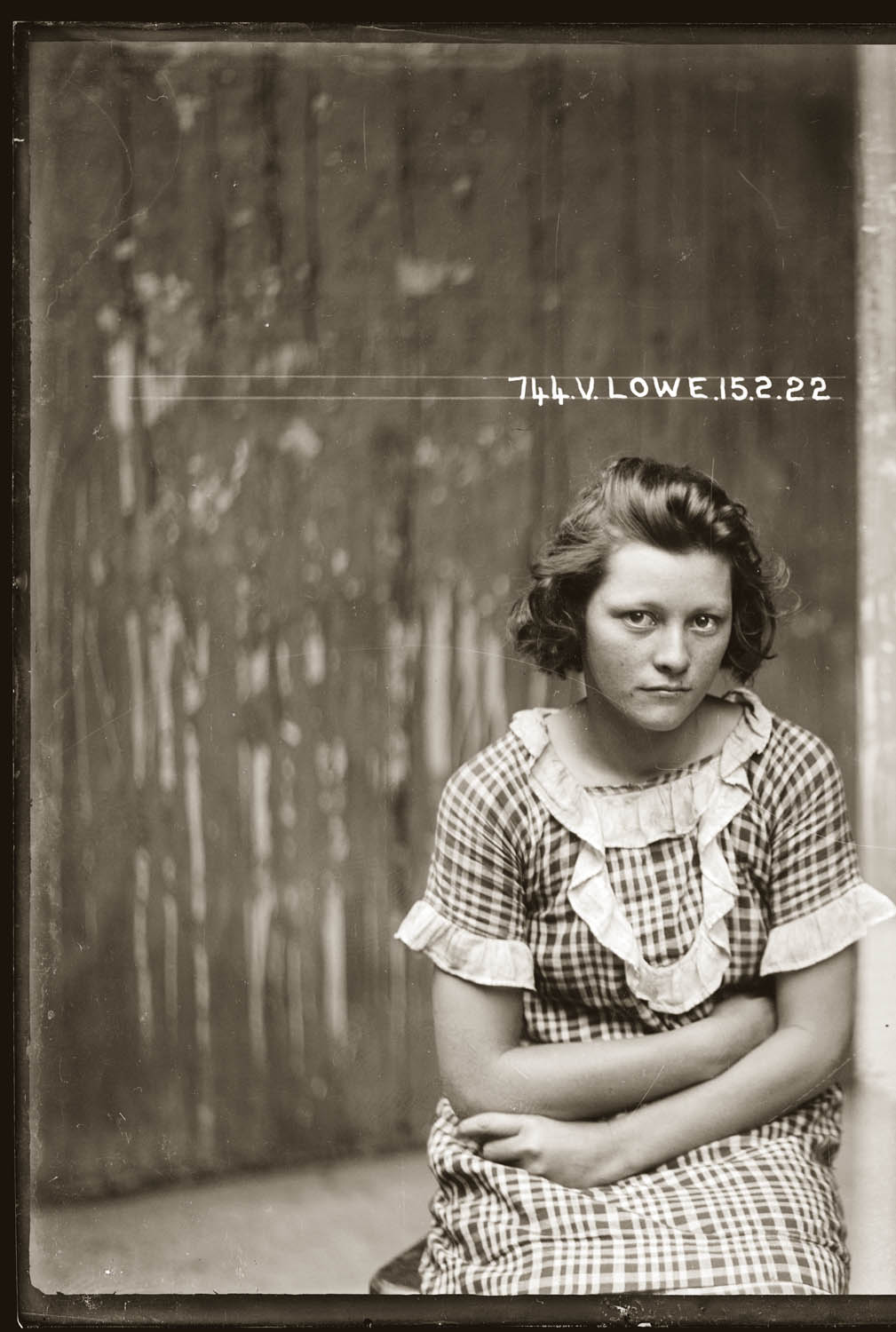 Mug shot of Valerie Lowe taken 15 February 1922, Central cells
