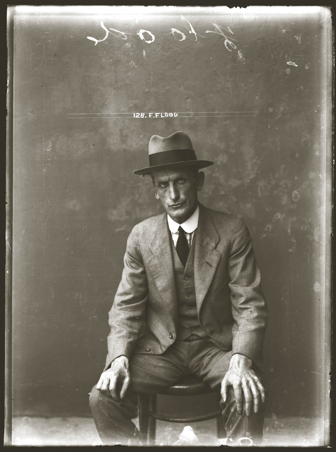 Mug shot of Francis Flood, Central Police Station, ca. May 1920.