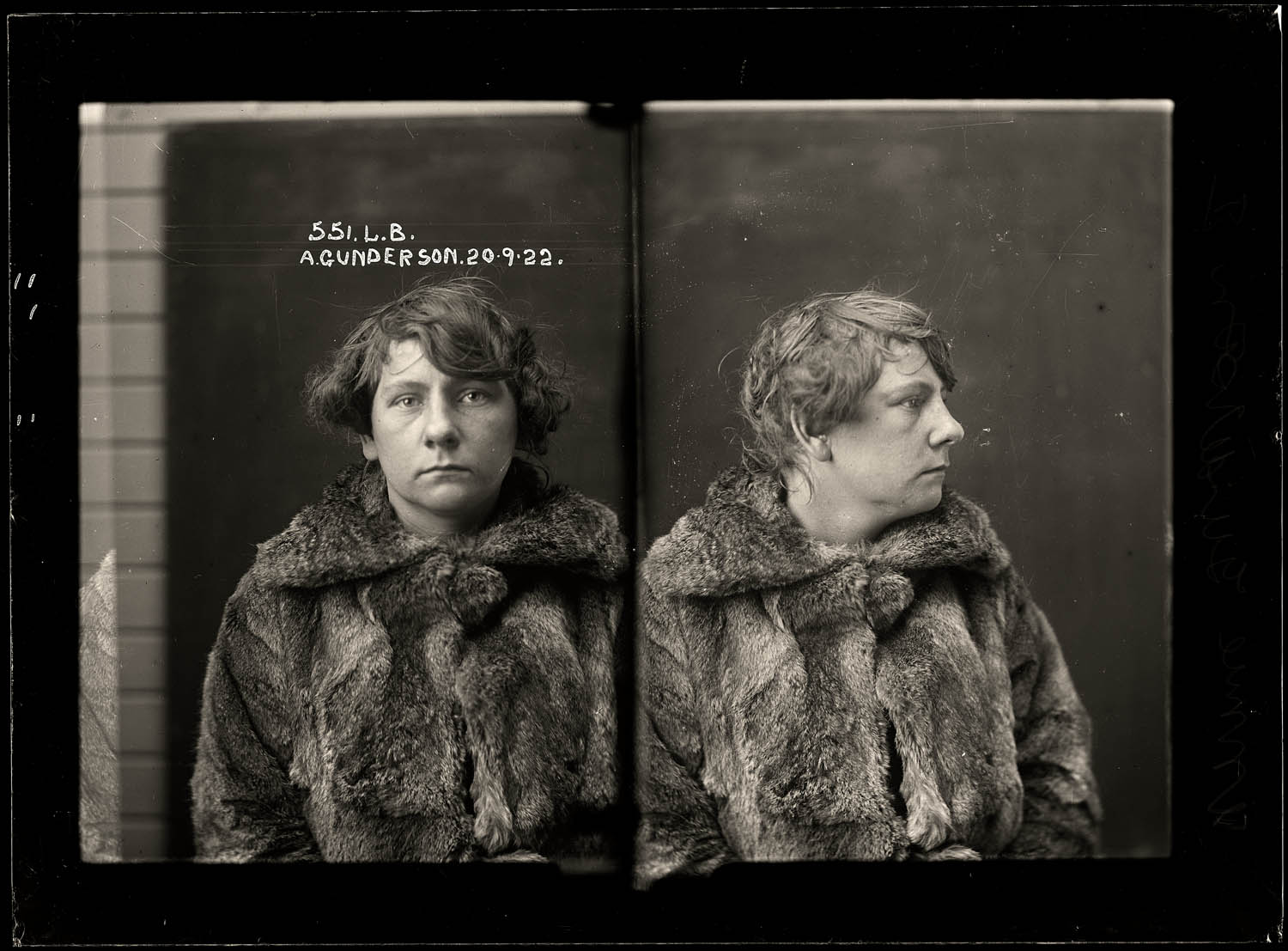 Annie Gunderson, criminal record number 551LB, 20 September 1922. State Reformatory for Women, Long Bay, NSW
