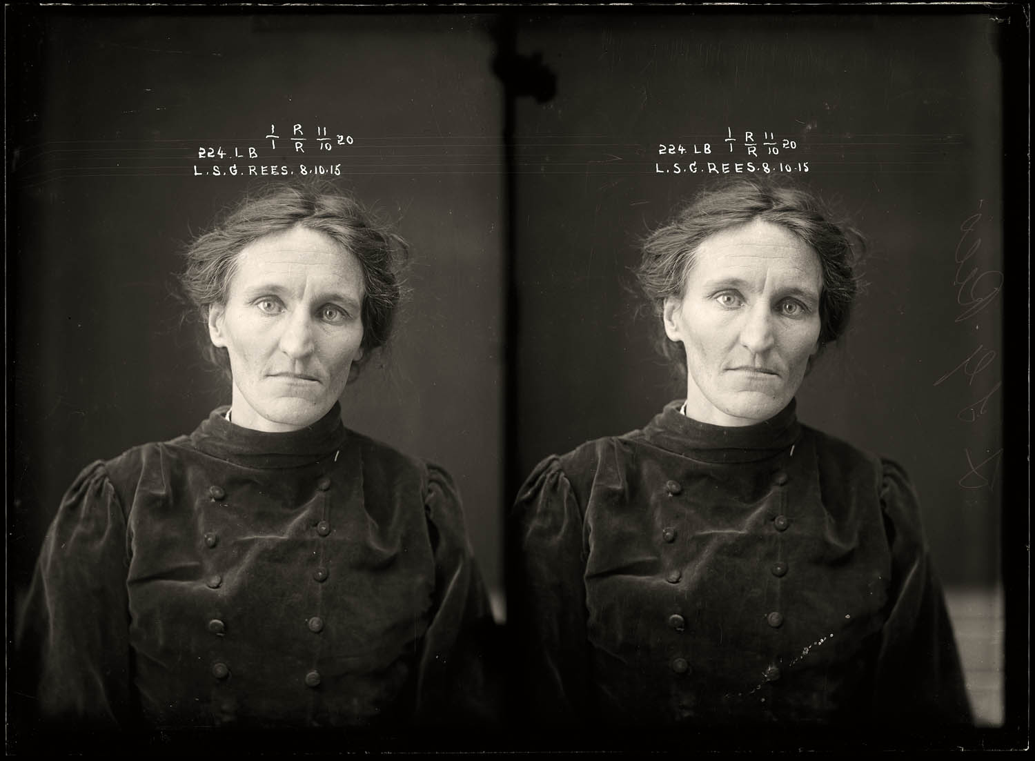 Leslie Selina Gertrude Rees, criminal record number 224LB, 8 October 1915. State Reformatory for Women, Long Bay, NSW