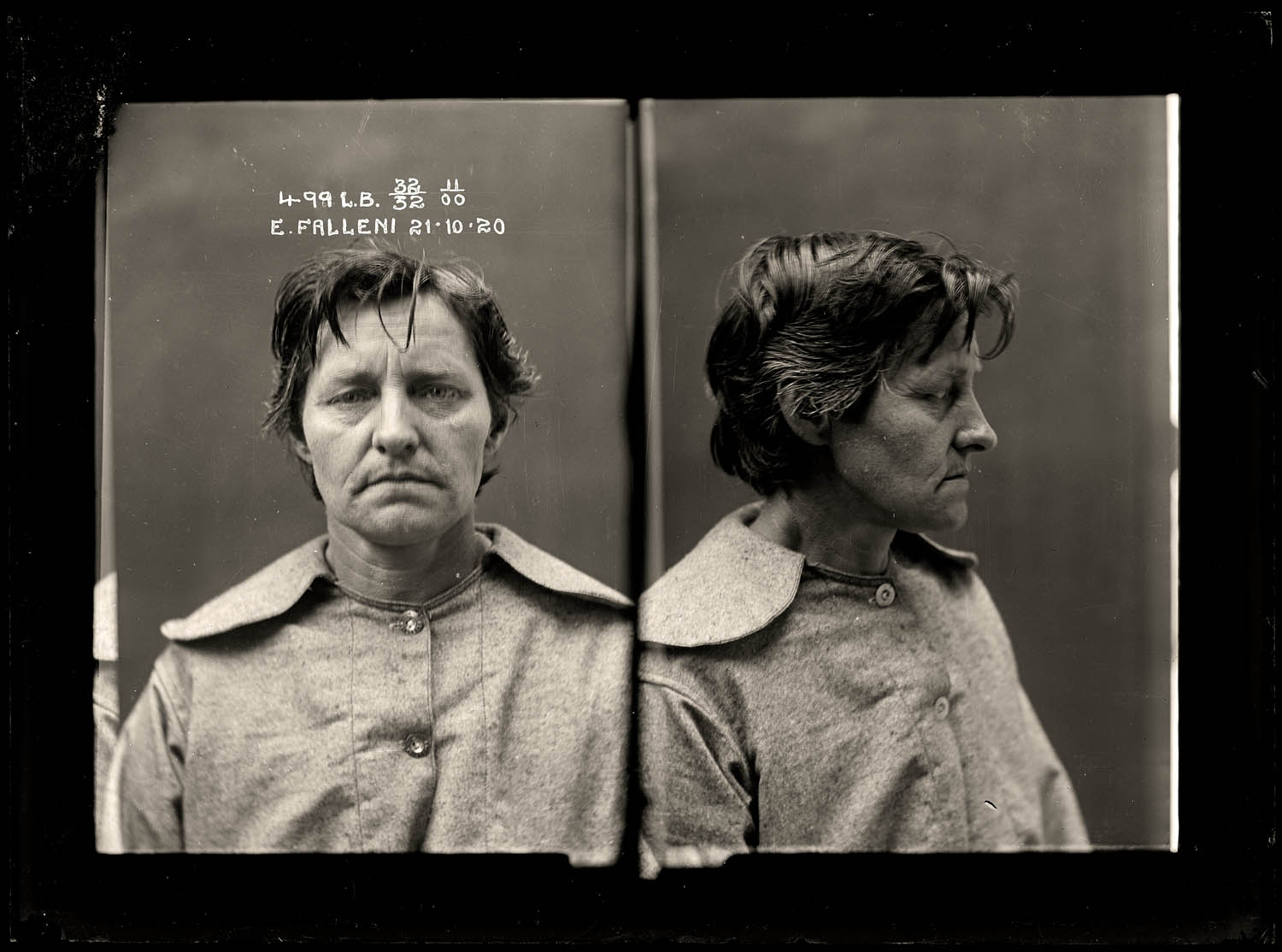 Eugenia Falleni, alias Harry Crawford, criminal record number 499LB, 21 October 1920. State Reformatory for Women, Long Bay, NSW