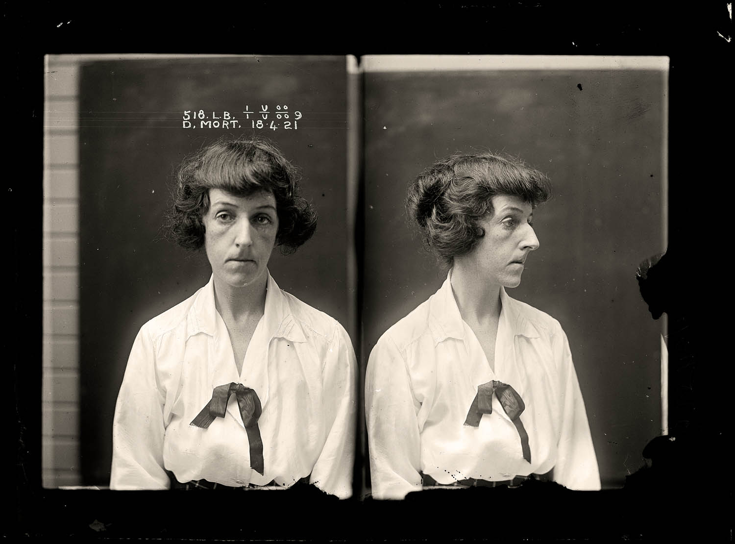 Dorothy Mort, criminal record number 518LB, 18 April 1921. State Reformatory for Women, Long Bay, NSW