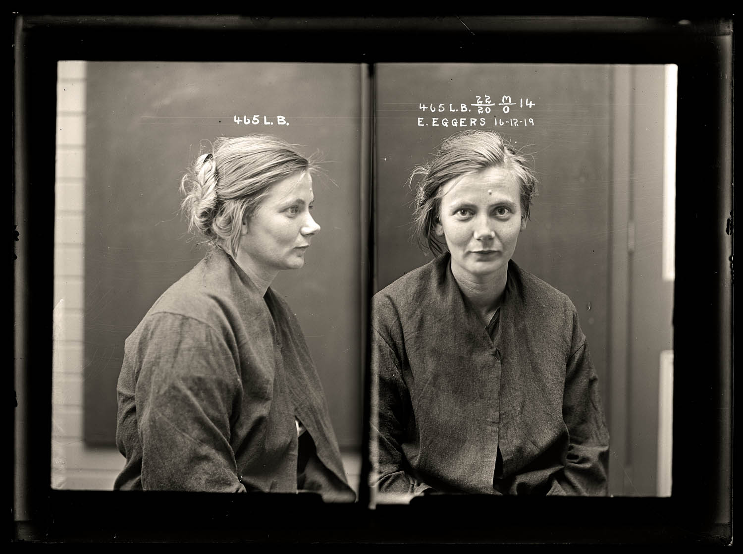 Esther Eggers, criminal record number 465LB, 16 December 1919. State Reformatory for Women, Long Bay, NSW