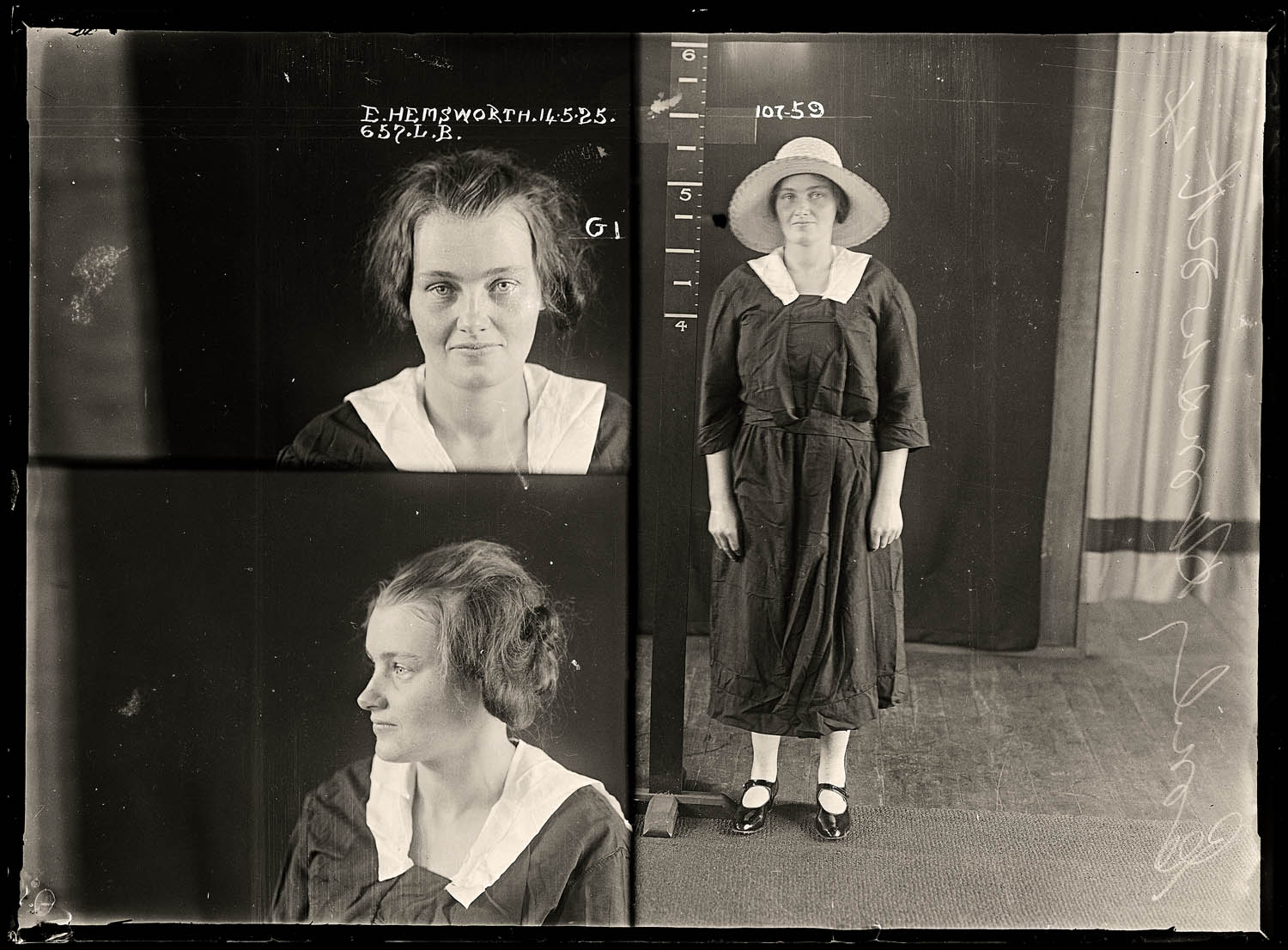 Emily Gertrude Hemsworth, criminal record number 657LB, 14 May 1925. State Reformatory for Women, Long Bay, NSW
