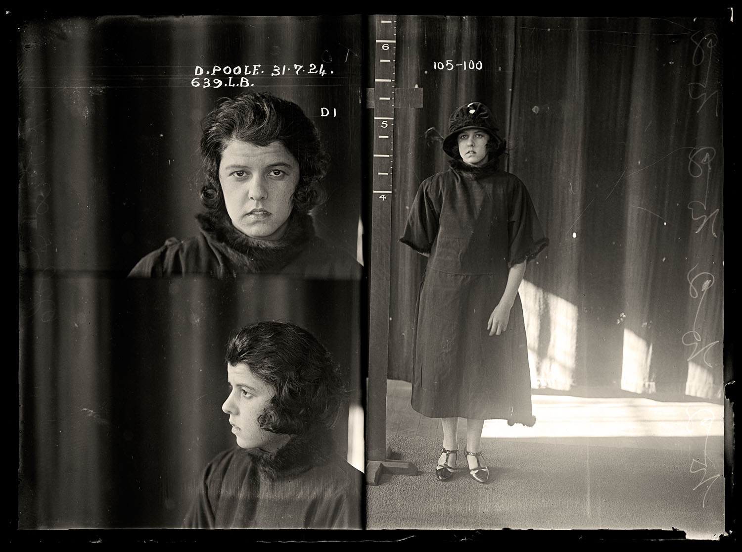 Doris Winifred Poole, criminal record number 639LB, 31 July 1924. State Reformatory for Women, Long Bay, NSW.