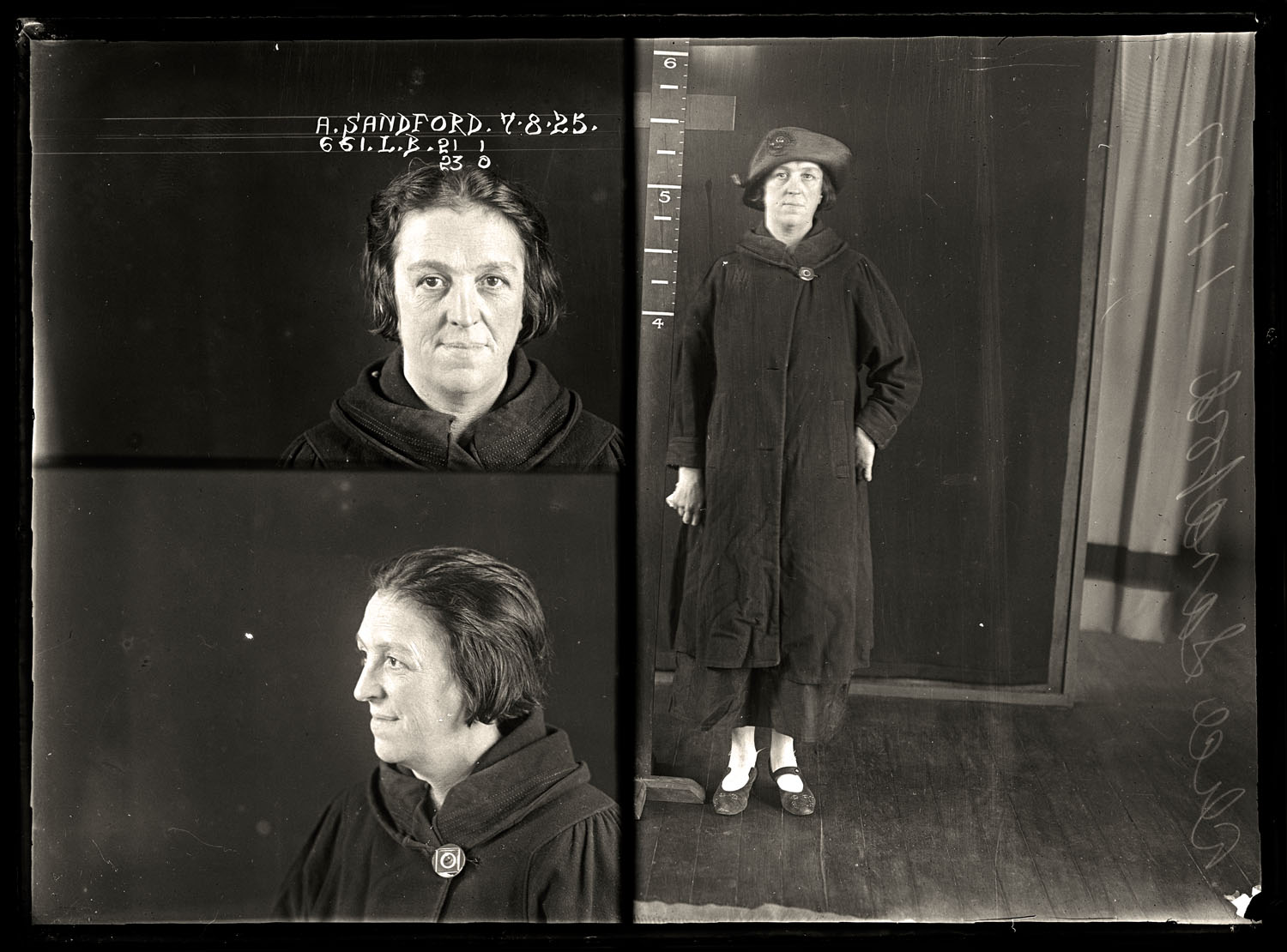 Alice Sandford, criminal record number 661LB, 7 August 1925. State Reformatory for Women, Long Bay.