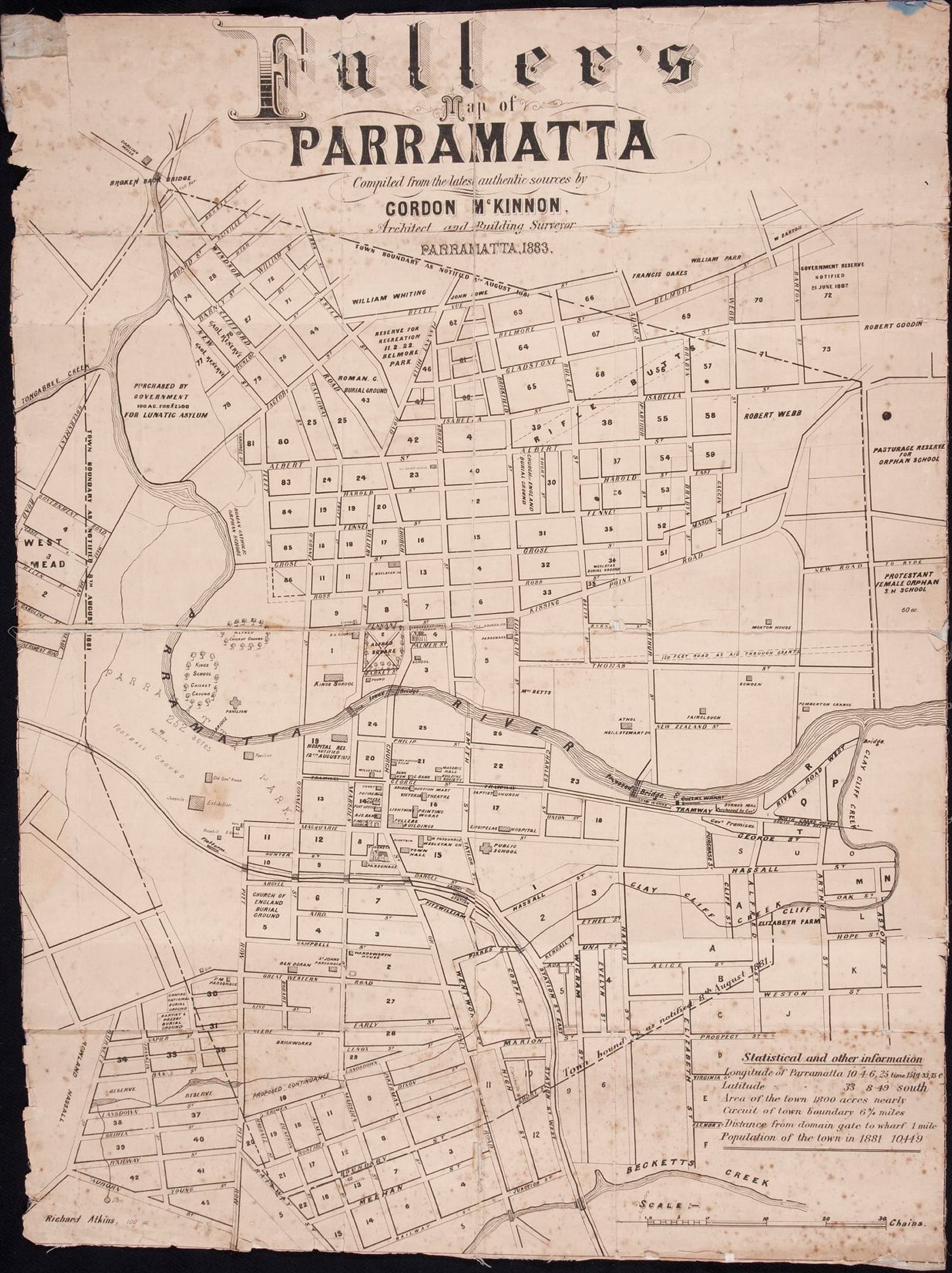 Fuller's map of Parramatta, compiled from the latest authentic sources by Gordon McKinnon, Architect and building surveyor, 1883