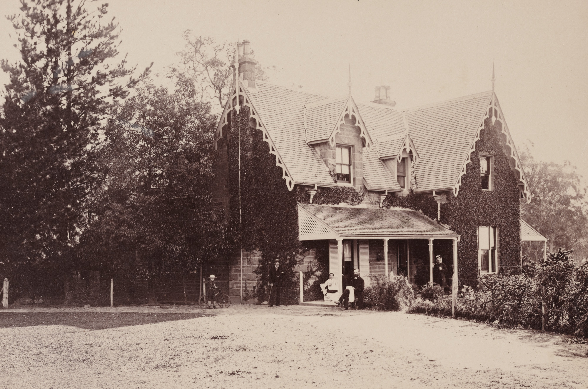 Reverend Arthur Wellesley Pain and members of his family at the Parsonage, Cobbitty, c1877 / photographer unknown