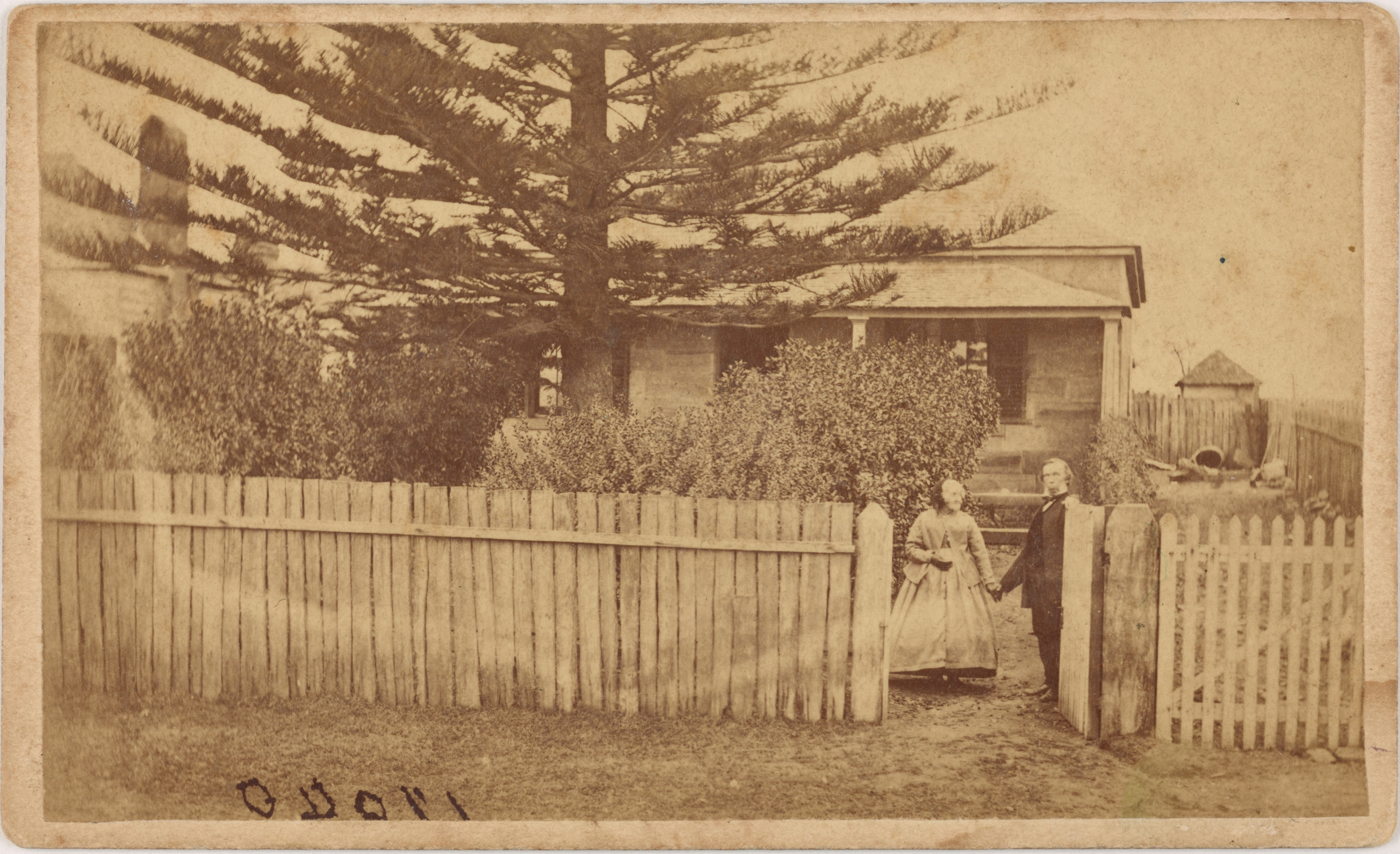 Mr and Mrs Ralph Mood in front of their home in Parramatta North, around September 1870 / American and Australasian Photographic Company