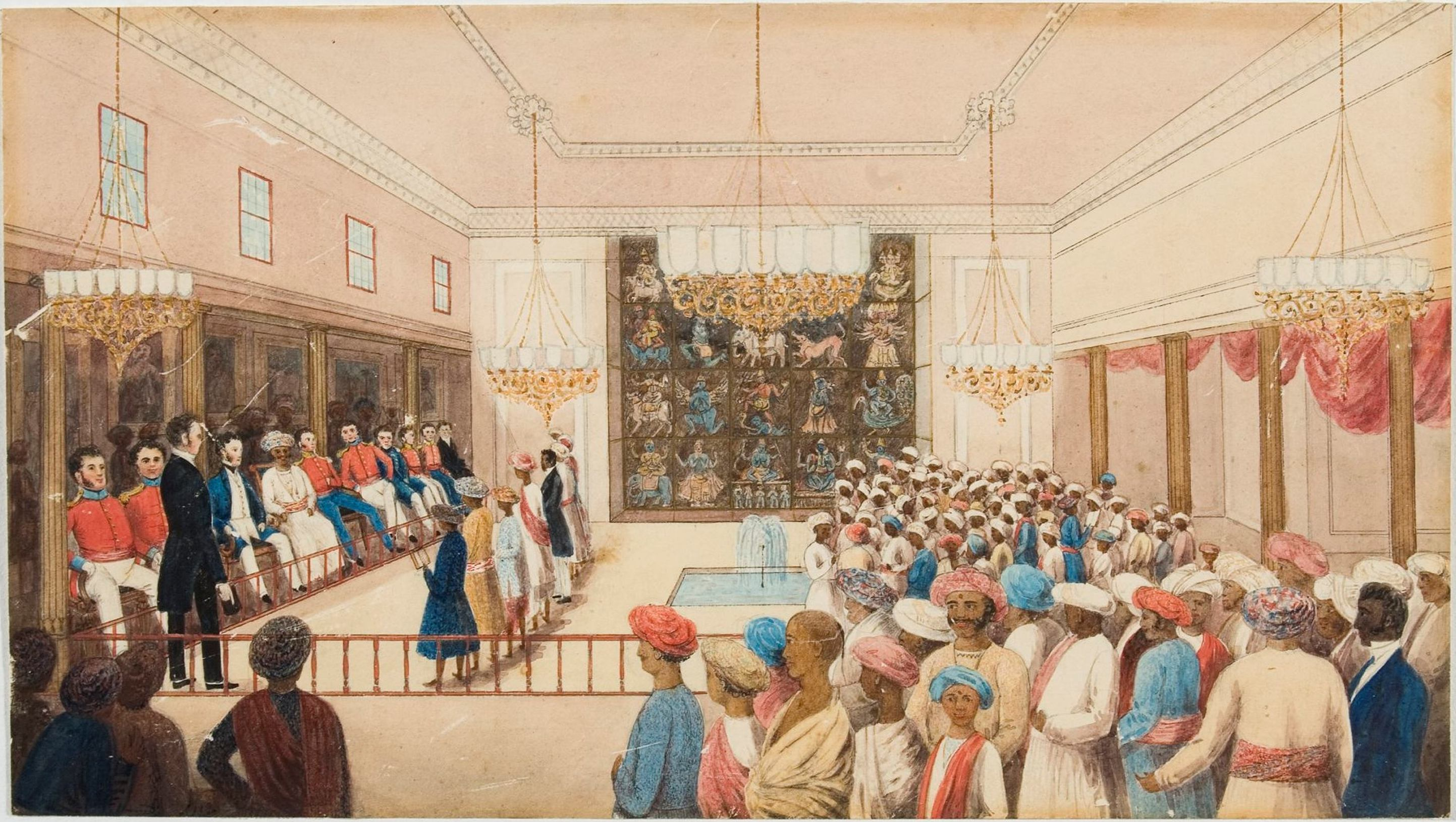 First examination of boys by Rev. T. Hodson in Rajah's Palace / artist unknown