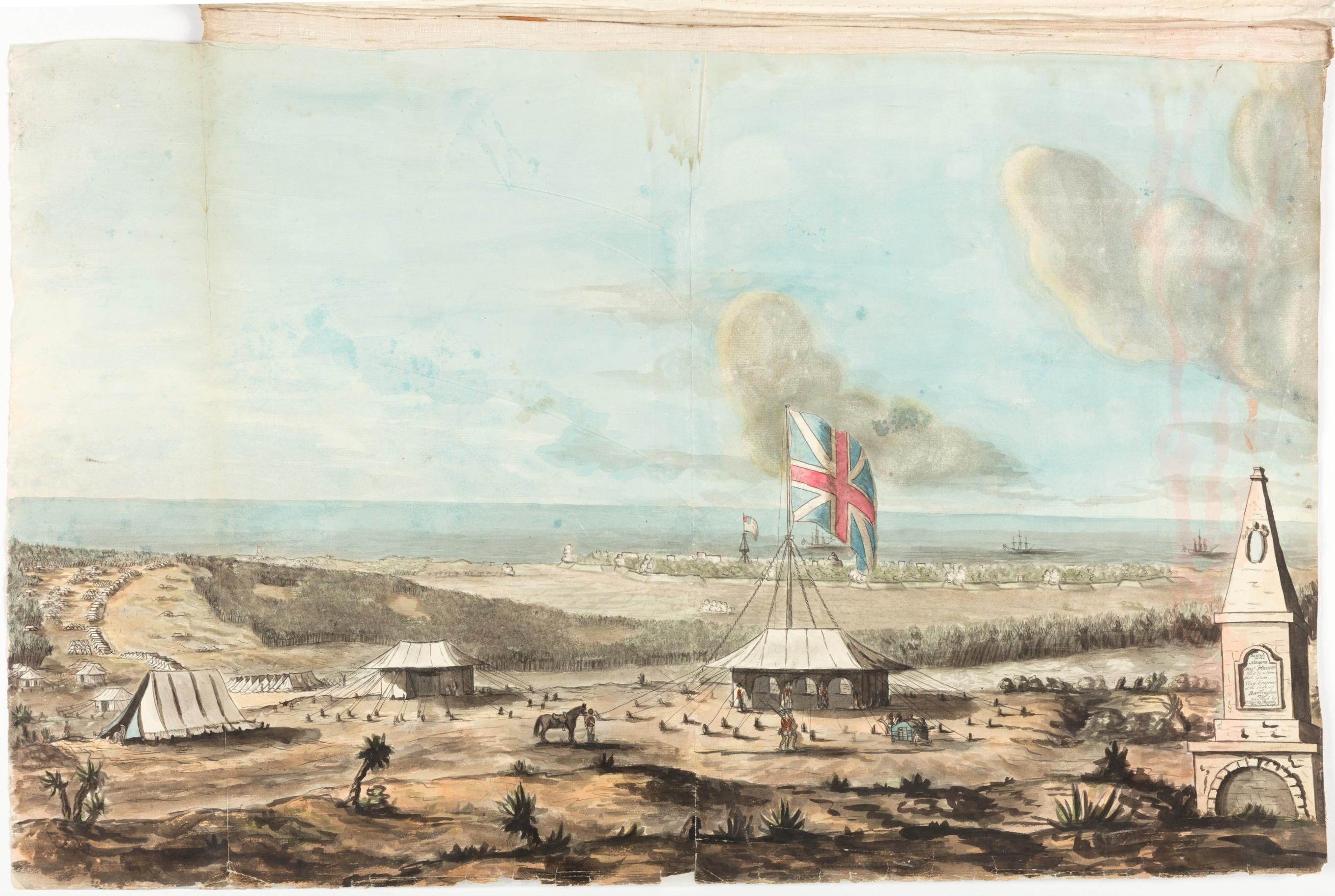 View of the left wing of the British Army on the Red Hills before Pondicherry Commanded by Col. Braithwaite. Capitulated & Sketched Sept 23rd 1793 / Thomas Marriott
