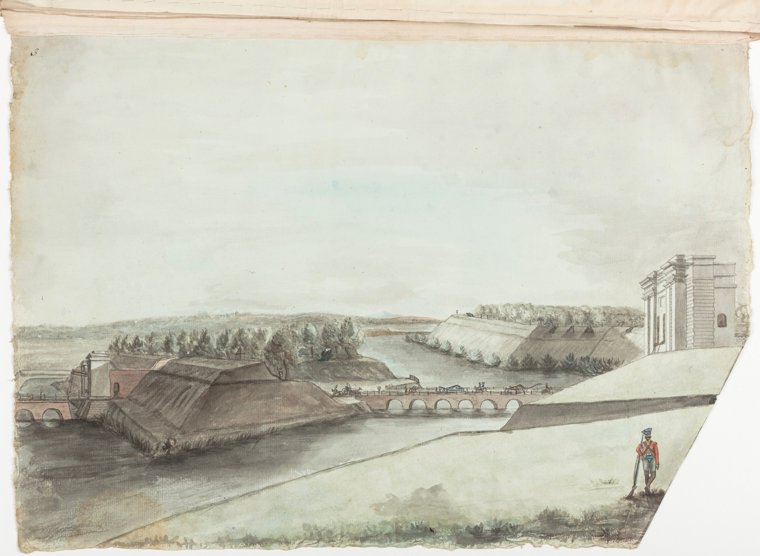Villenore Gate of Pondicherry by day light with distant view of our Army encamped on the Red Hills – from Parapet / Thomas Marriott