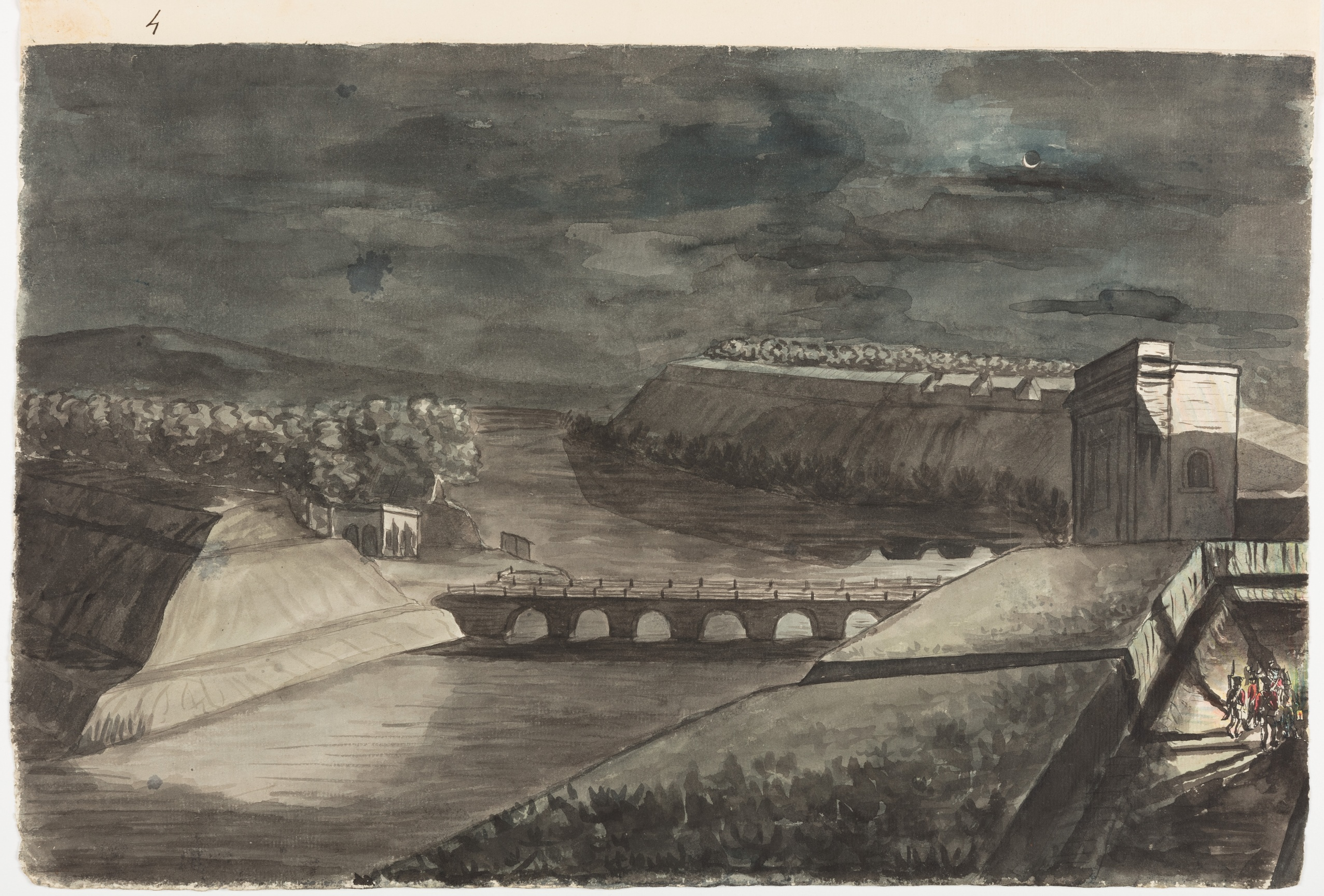 Villenore Gate of Pondicherry with Bridge into the Ravelin – Moonlight & the rounds going / Thomas Marriott