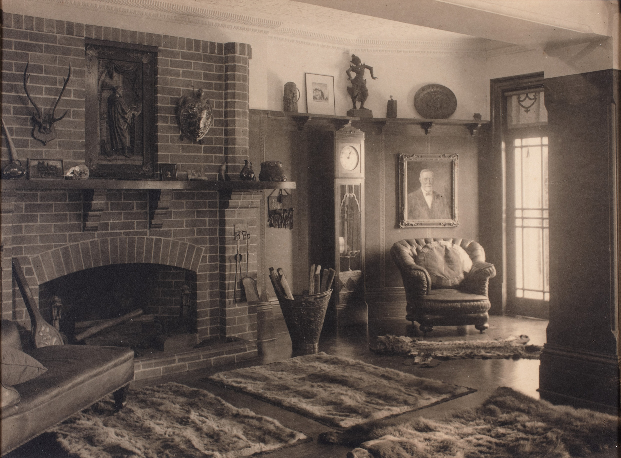 Fireplace at end of billiard room at Brooksby, Ocean Avenue, Double Bay, Sydney, New South Wales, 1922 / Harold Cazneaux