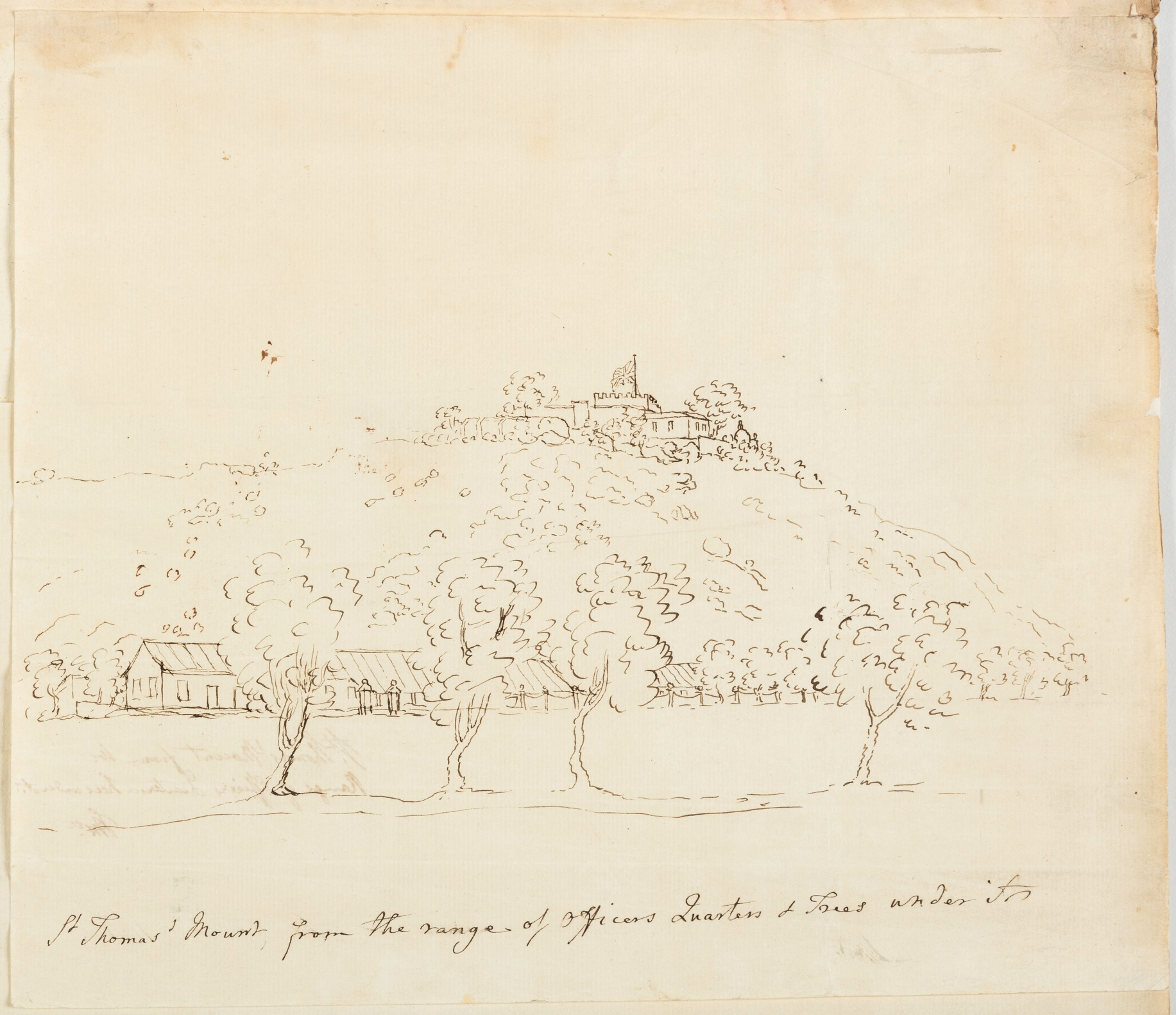 St. Thomas' Mount from the range of the Officers Quarters & Trees under A.