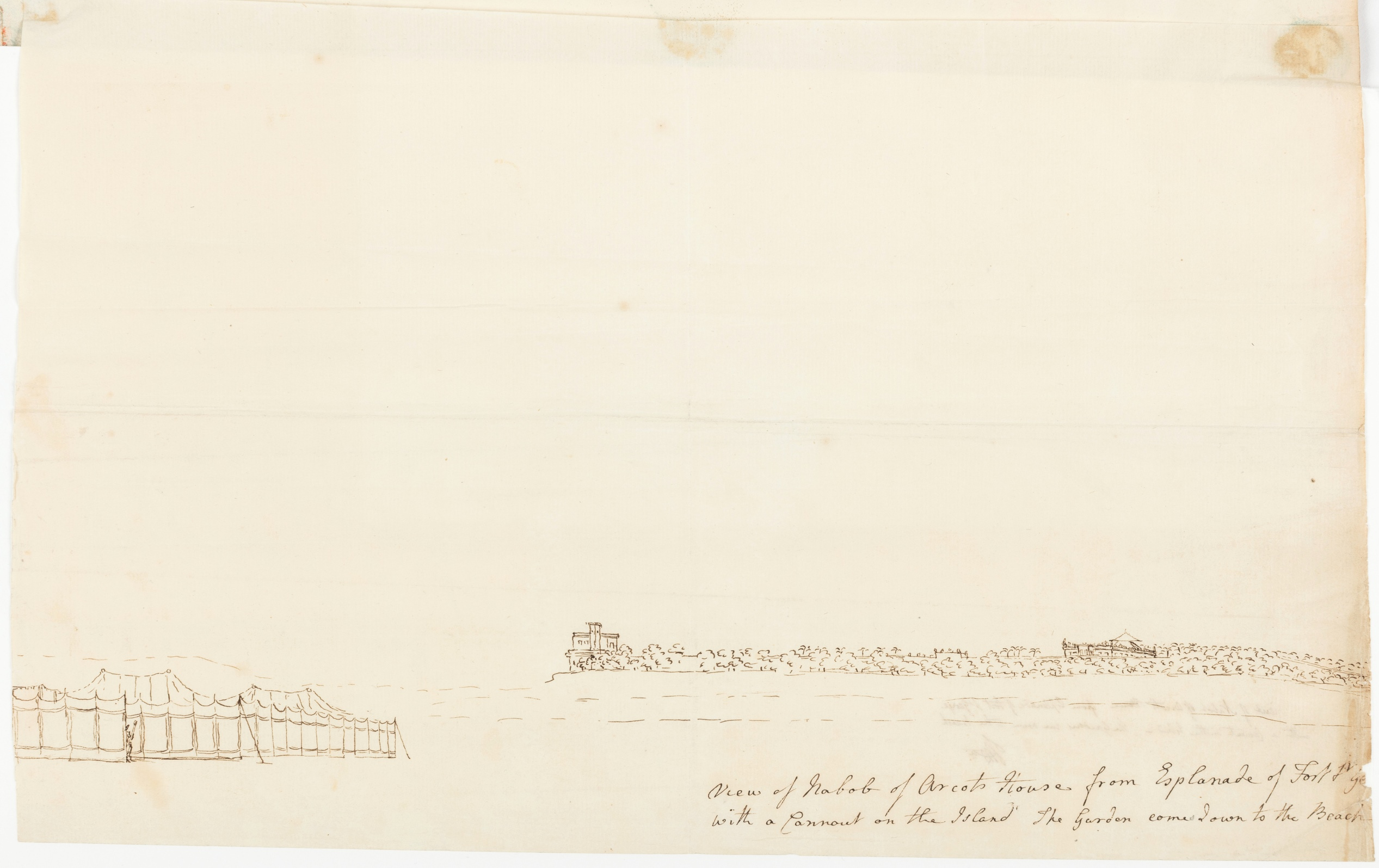 View of Nabob of Arcot's house from Esplanade of Fort St. Geo. with a Cannout on the Island. The garden comes down to the Beach
