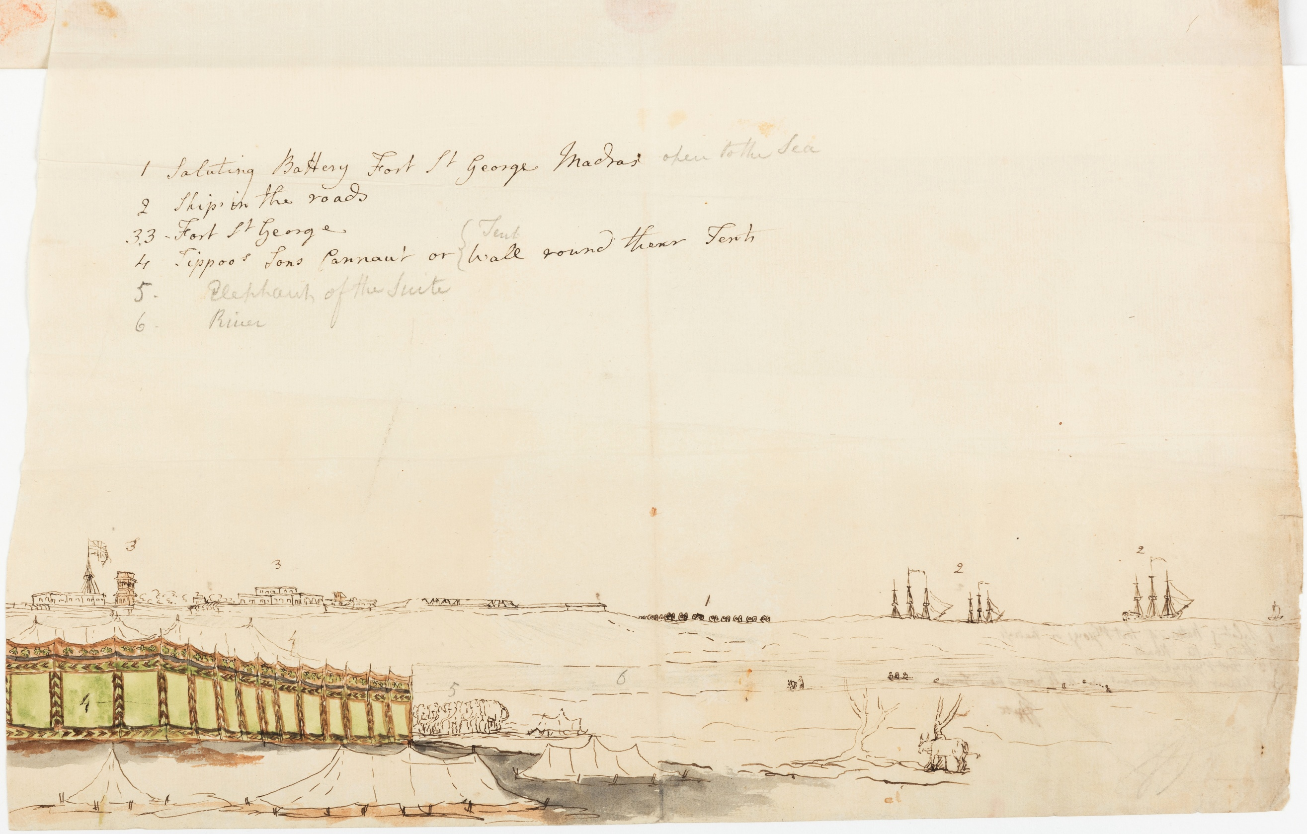 [Panoramic view] 1.Saluting Battery Fort St. George Madras open to the sea; 2. Ships in the Roads; 3. Fort St. George; 4. Tippoo's Sons Cannaut or Tent Wall round their Tents; 5. Elephants of the Suite; 6. River
