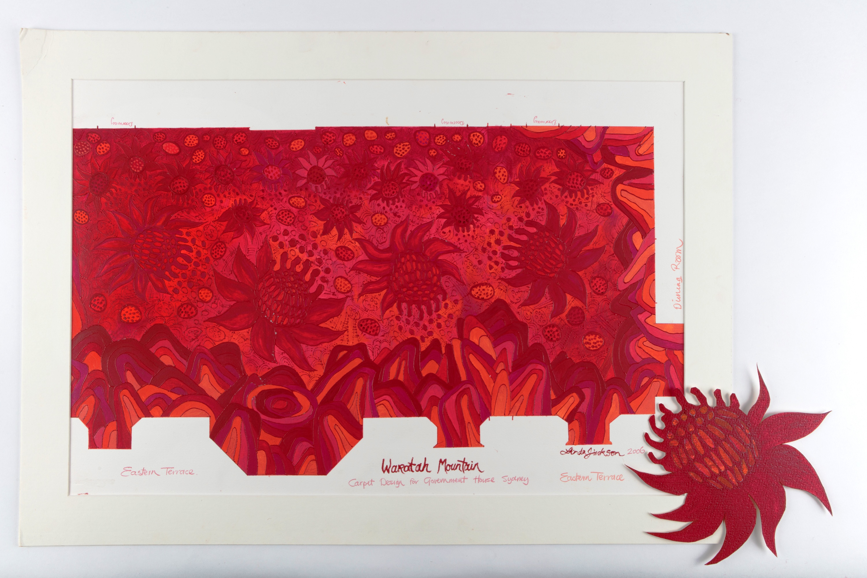 Linda Jackson, 'Waratah Mountain' design for carpet