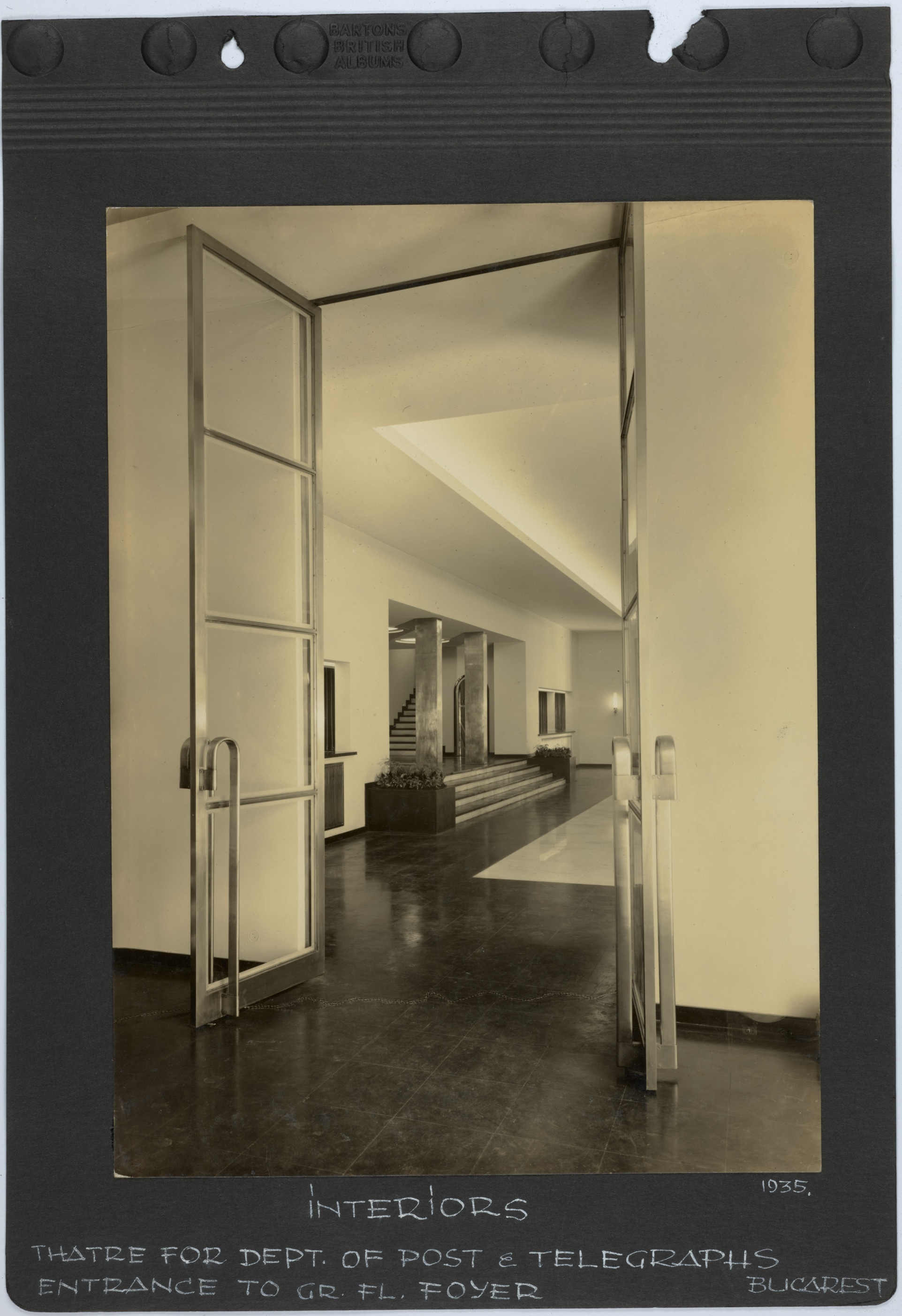 Theatre for Dept. of Post & Telegraphs, Bucarest, Entrance to gr. fl. foyer, 1935