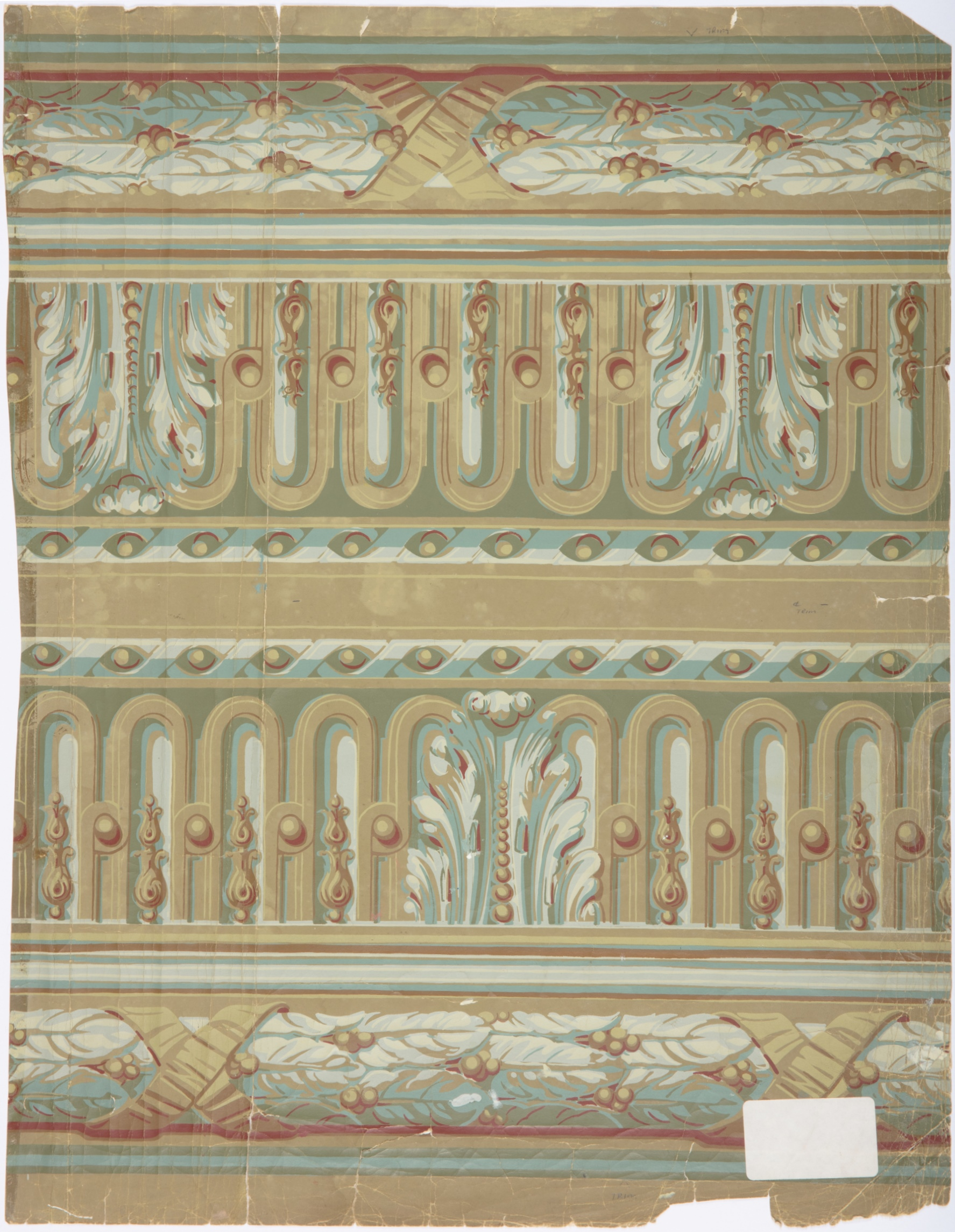 Wallpaper frieze recreated for the Strangers' Rooms, Parliament House, Sydney