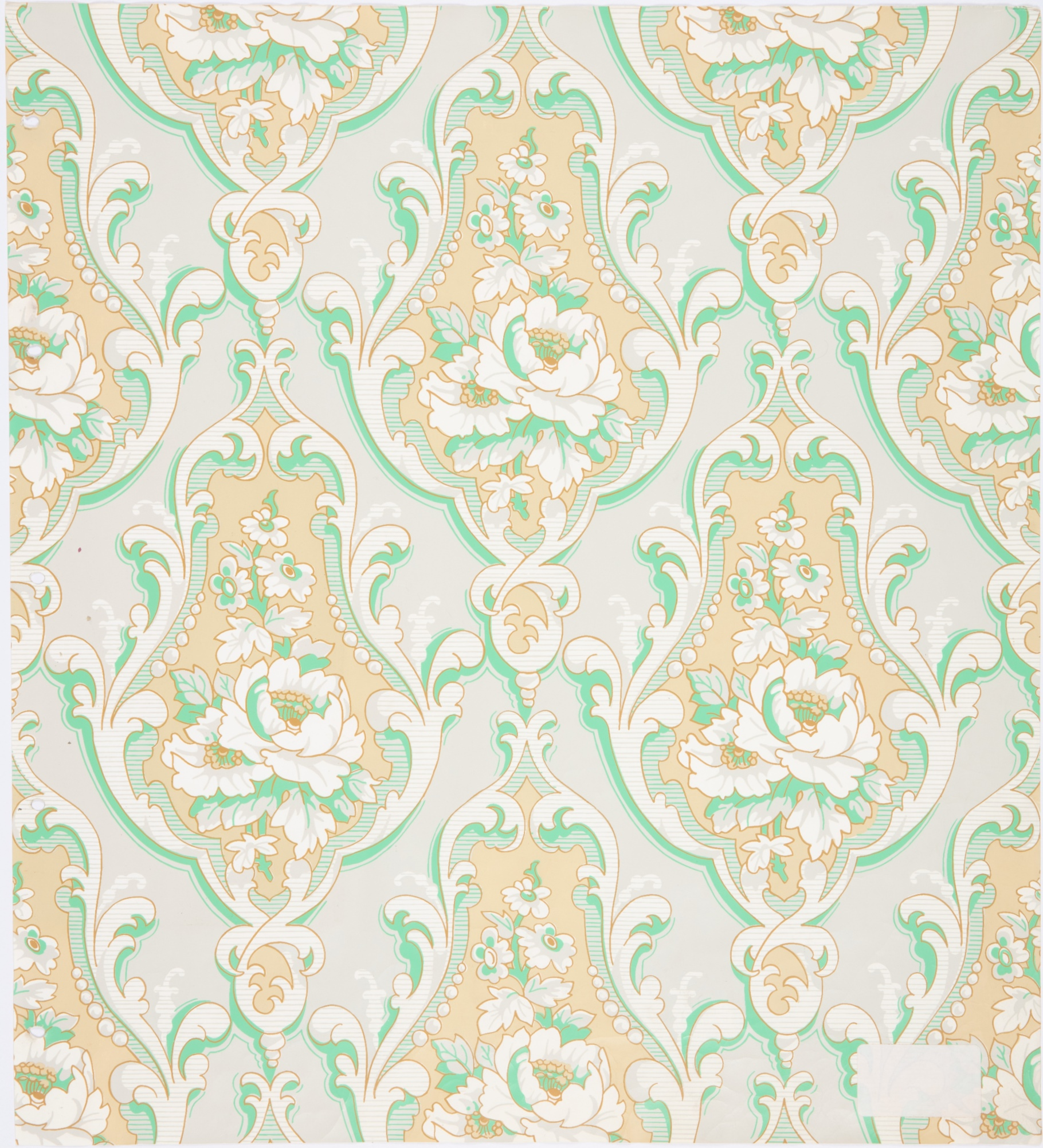 Wallpaper recreated for upstairs sitting room at Vaucluse House, Sydney, copied form paper found at Harrisford House, Parramatta