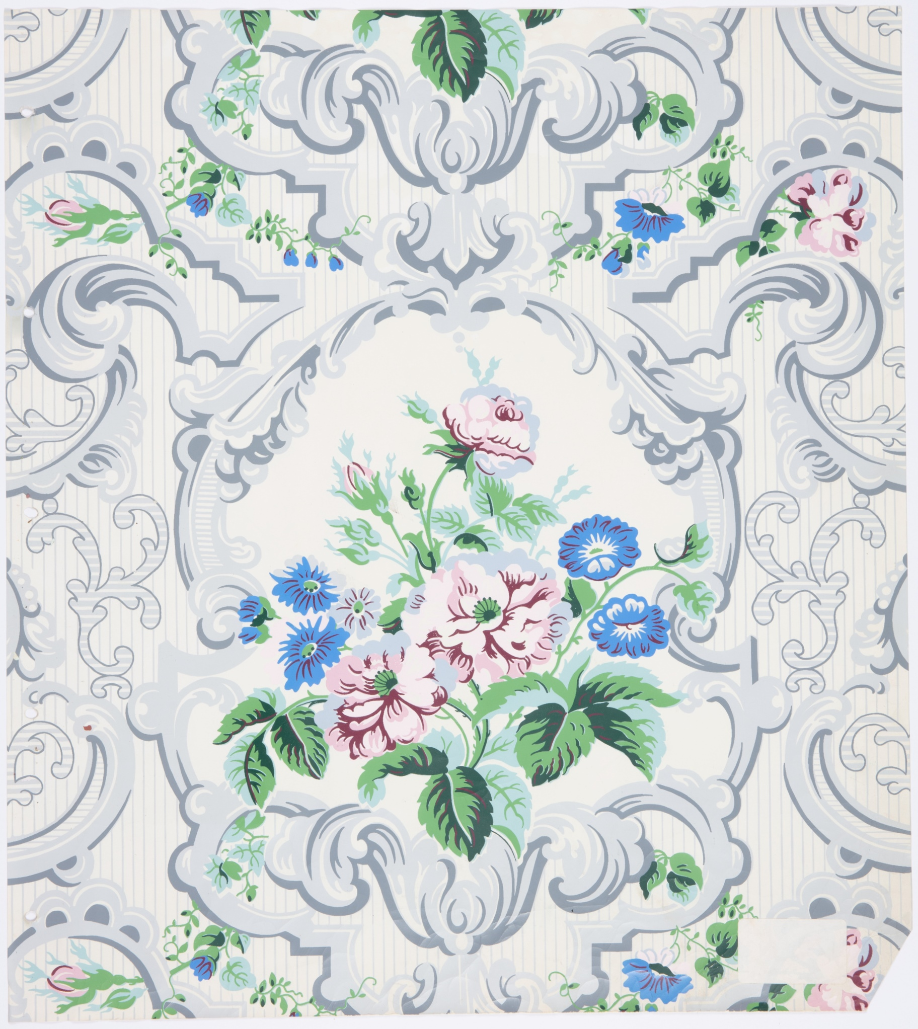 Wallpaper recreated for Mis Wentworth's room at Vaucluse House, Sydney, copied form paper found at Cooma Cottage