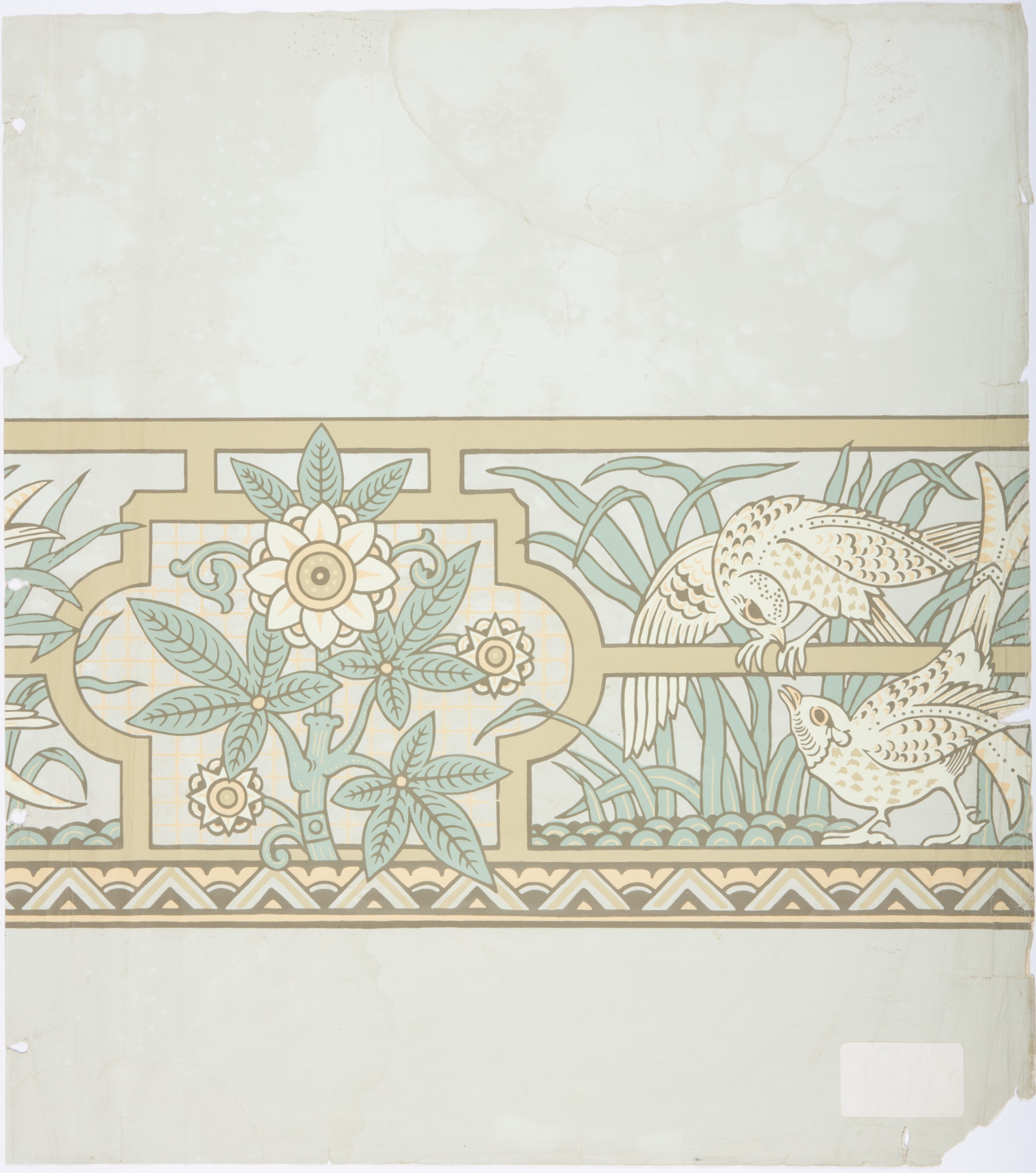 Stylized bird wallpaper frieze recreated for former Treasury Building, Sydney